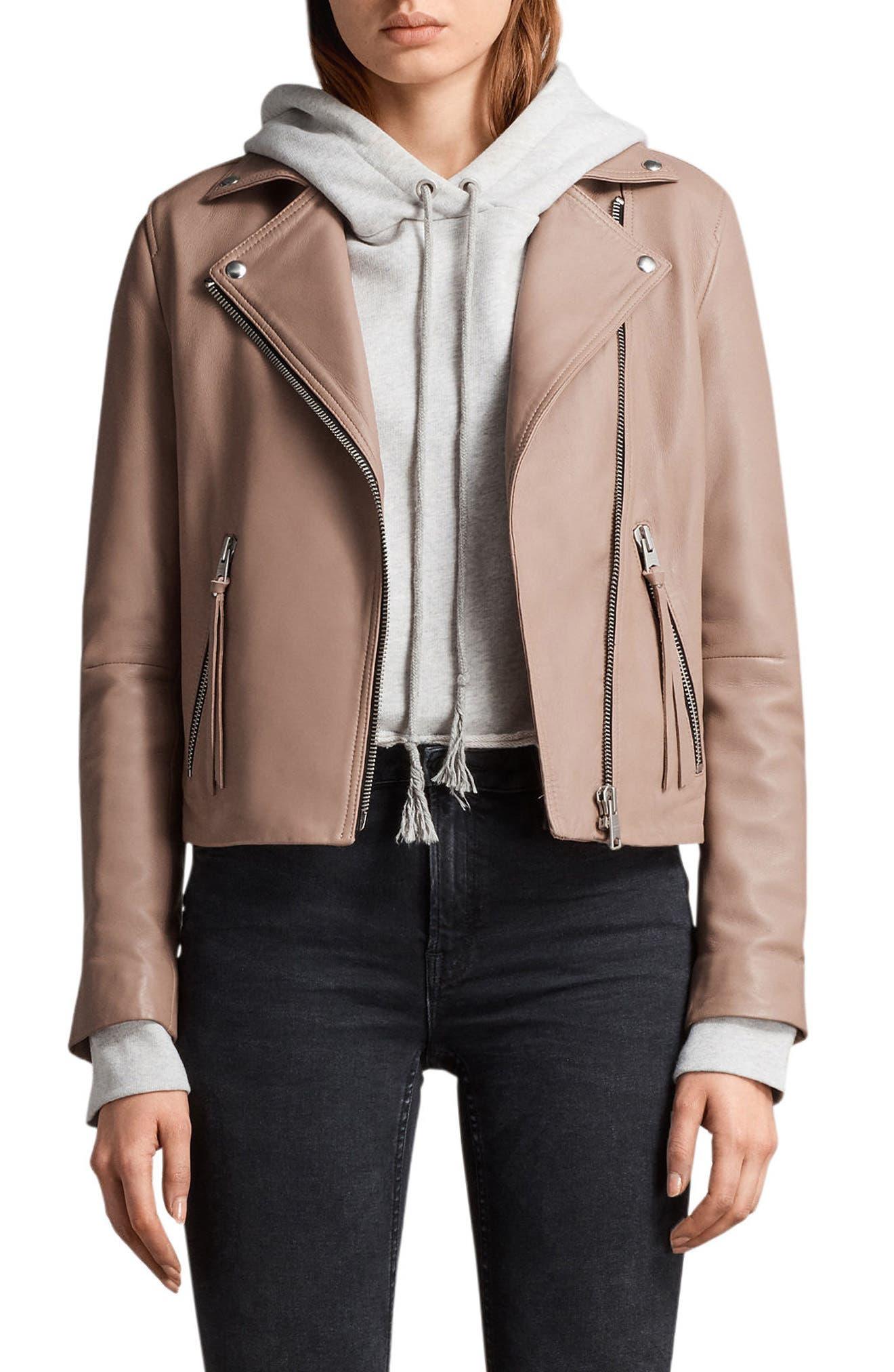 ALLSAINTS Dalby Leather Biker Jacket, Main, color, 682