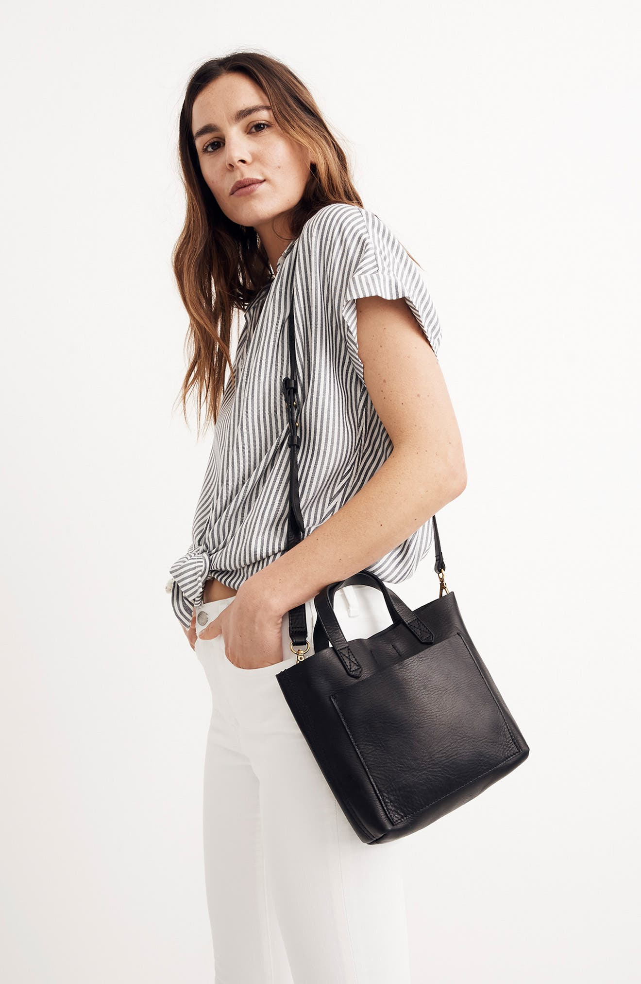 MADEWELL, Small Transport Leather Crossbody, Alternate thumbnail 8, color, 001