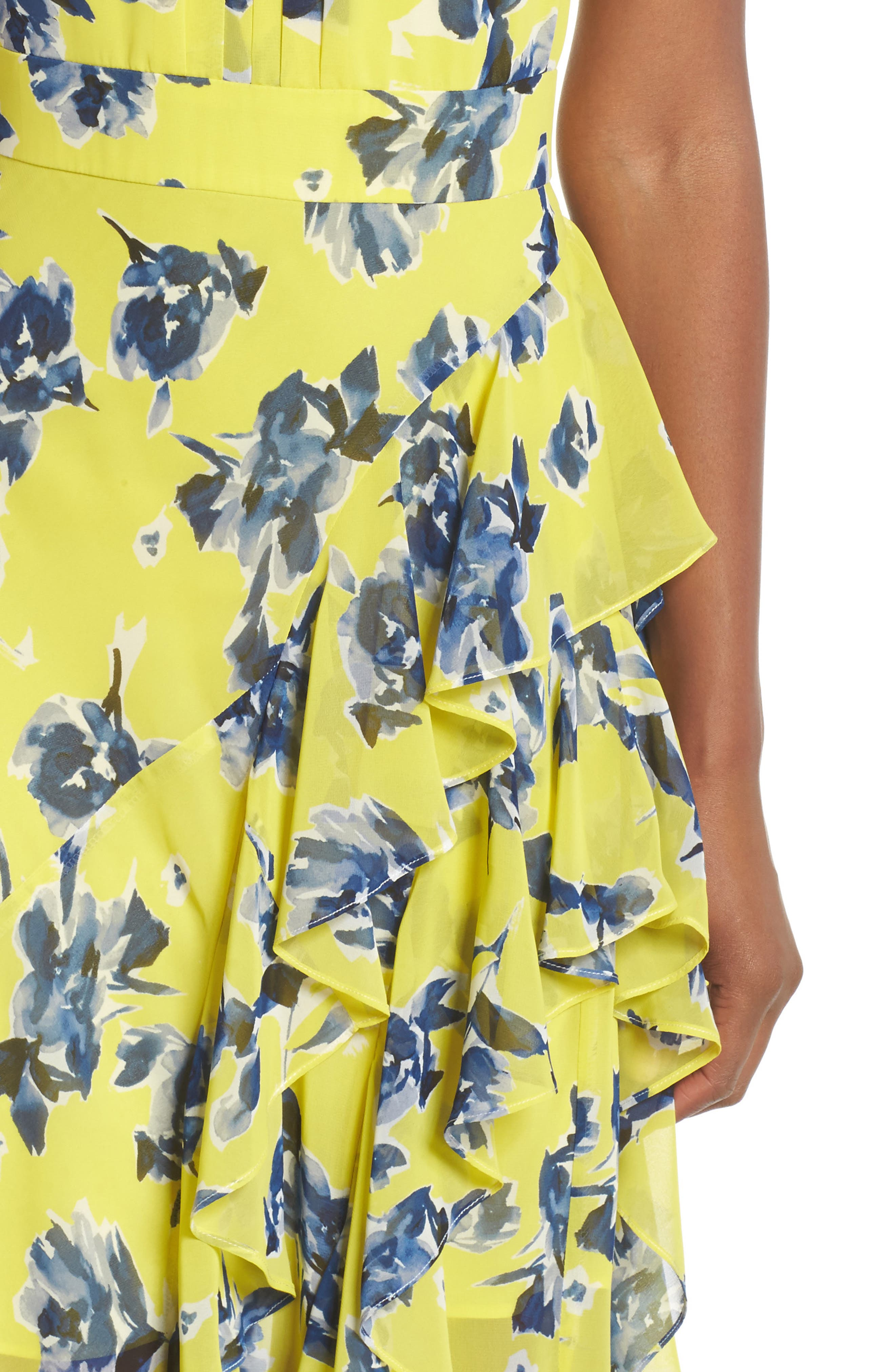 ELIZA J, Halter Ruffle Maxi Dress, Alternate thumbnail 4, color, YELLOW