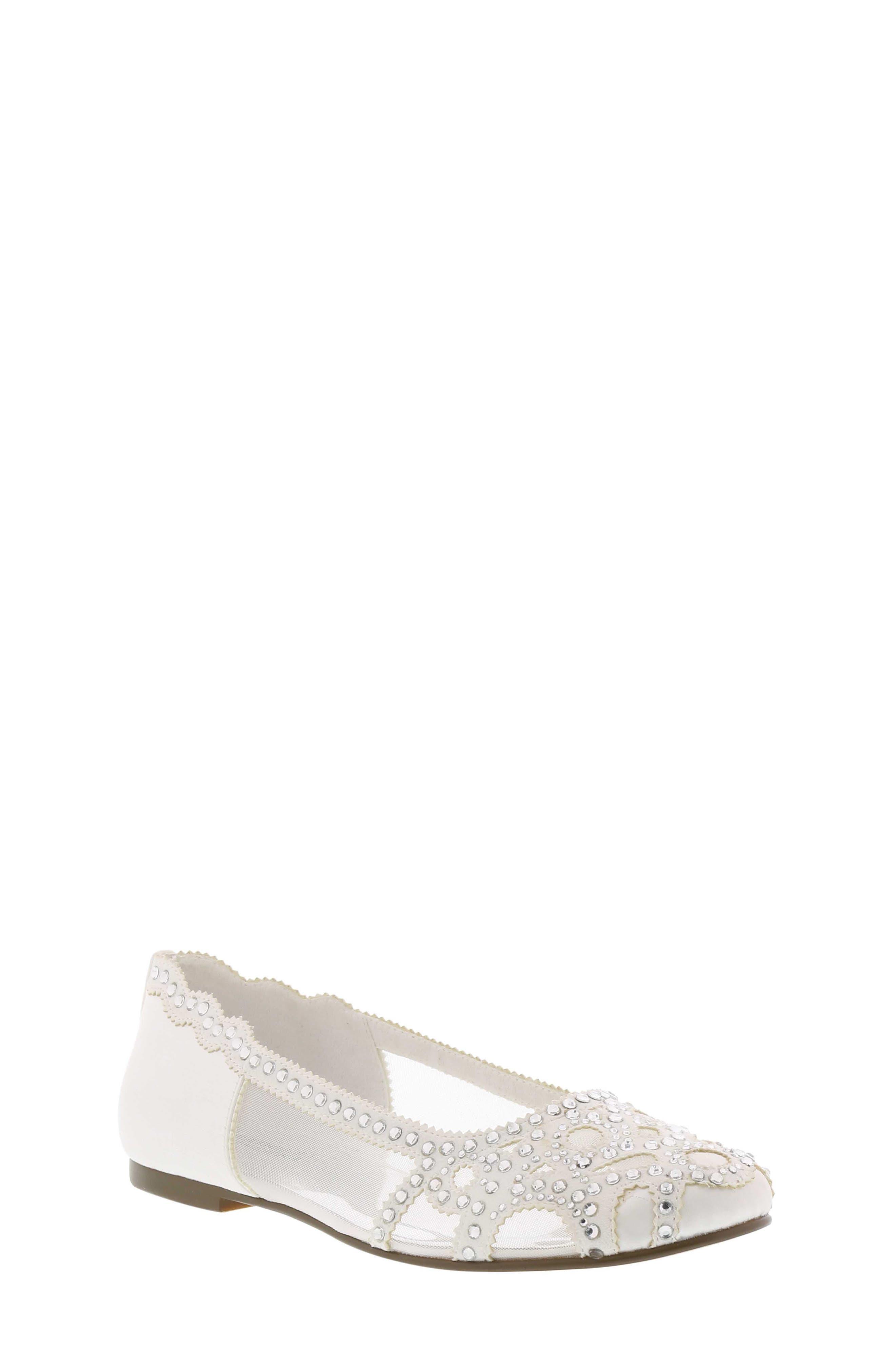 BADGLEY MISCHKA COLLECTION Badgley Mischka Gigi Embellished Flat, Main, color, WHITE