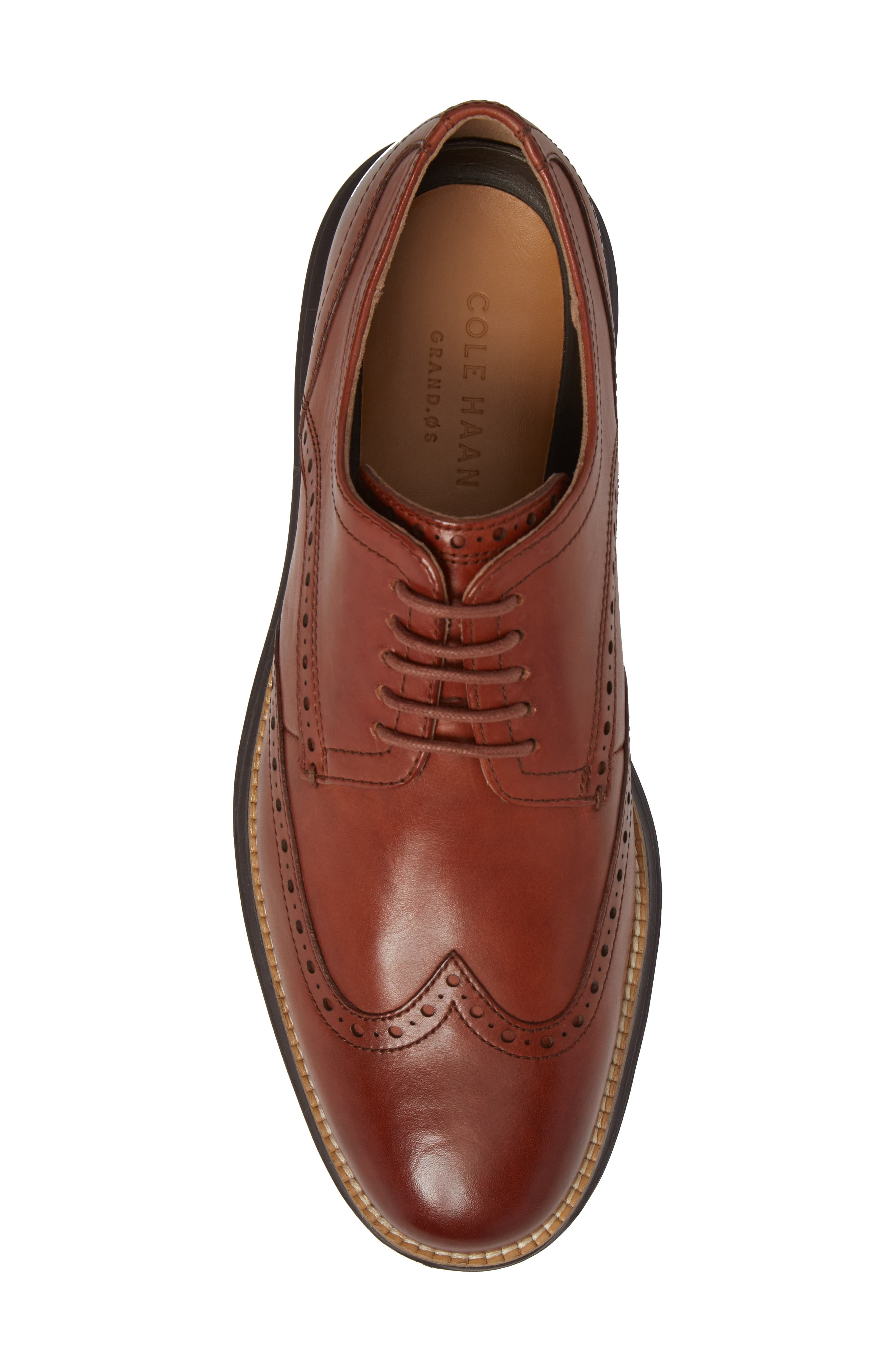 COLE HAAN, Original Grand Wingtip, Alternate thumbnail 5, color, WOODBURY/ JAVA LEATHER