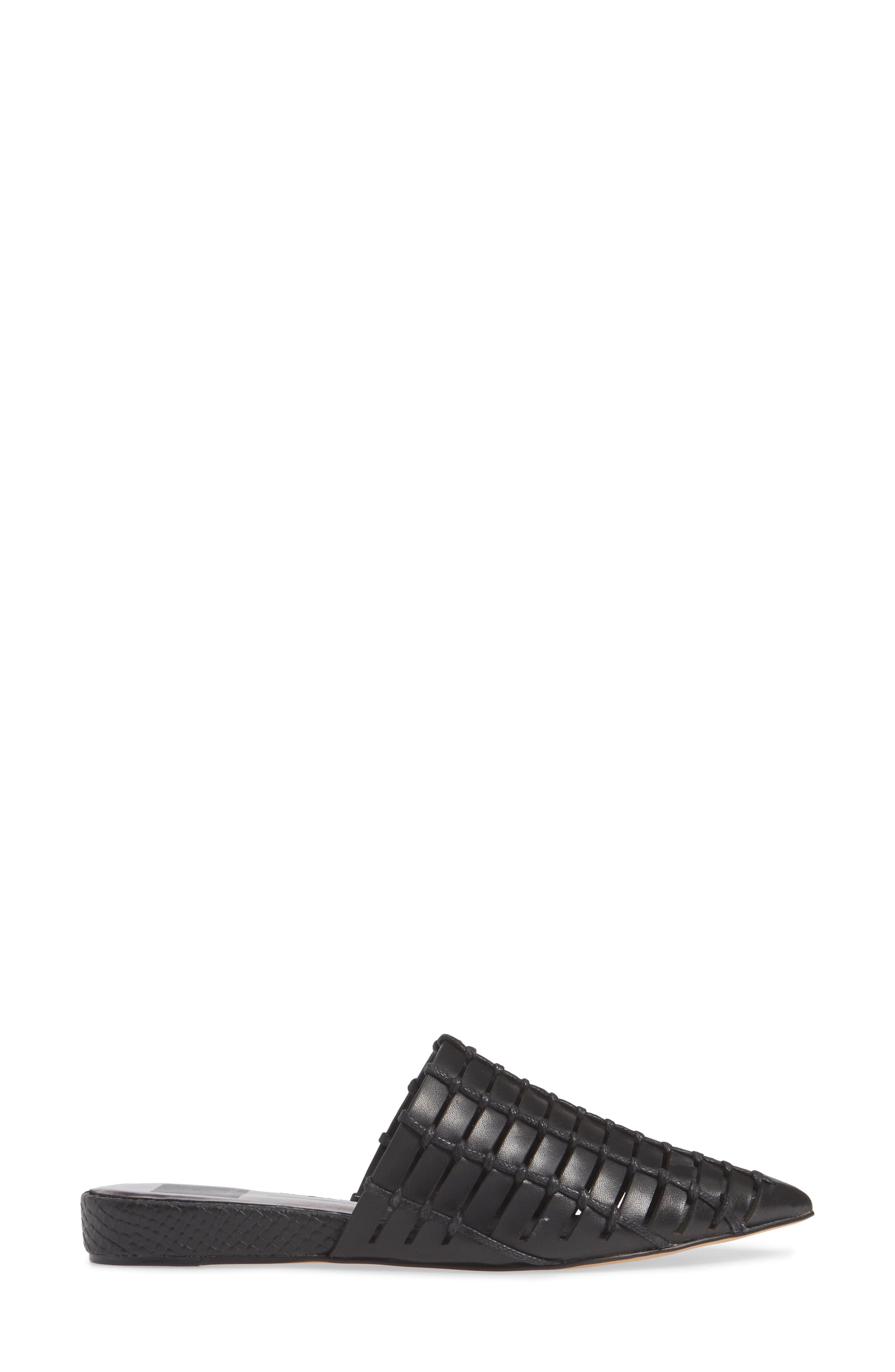 DOLCE VITA, Elina Woven Mule, Alternate thumbnail 3, color, BLACK LEATHER