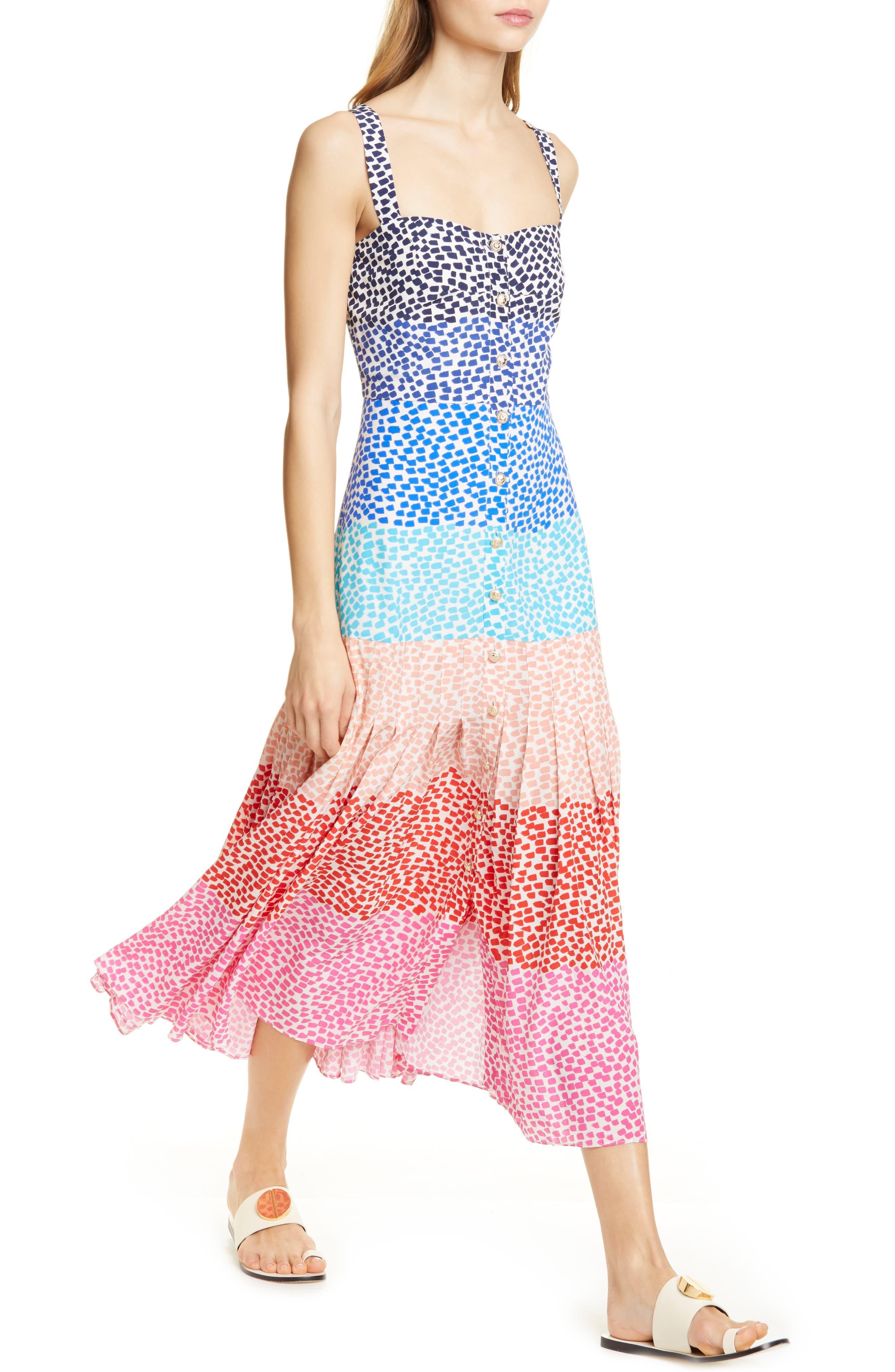 SALONI, Karen Stripe Silk Dress, Alternate thumbnail 4, color, RAINBOW GRADIENT PLMT