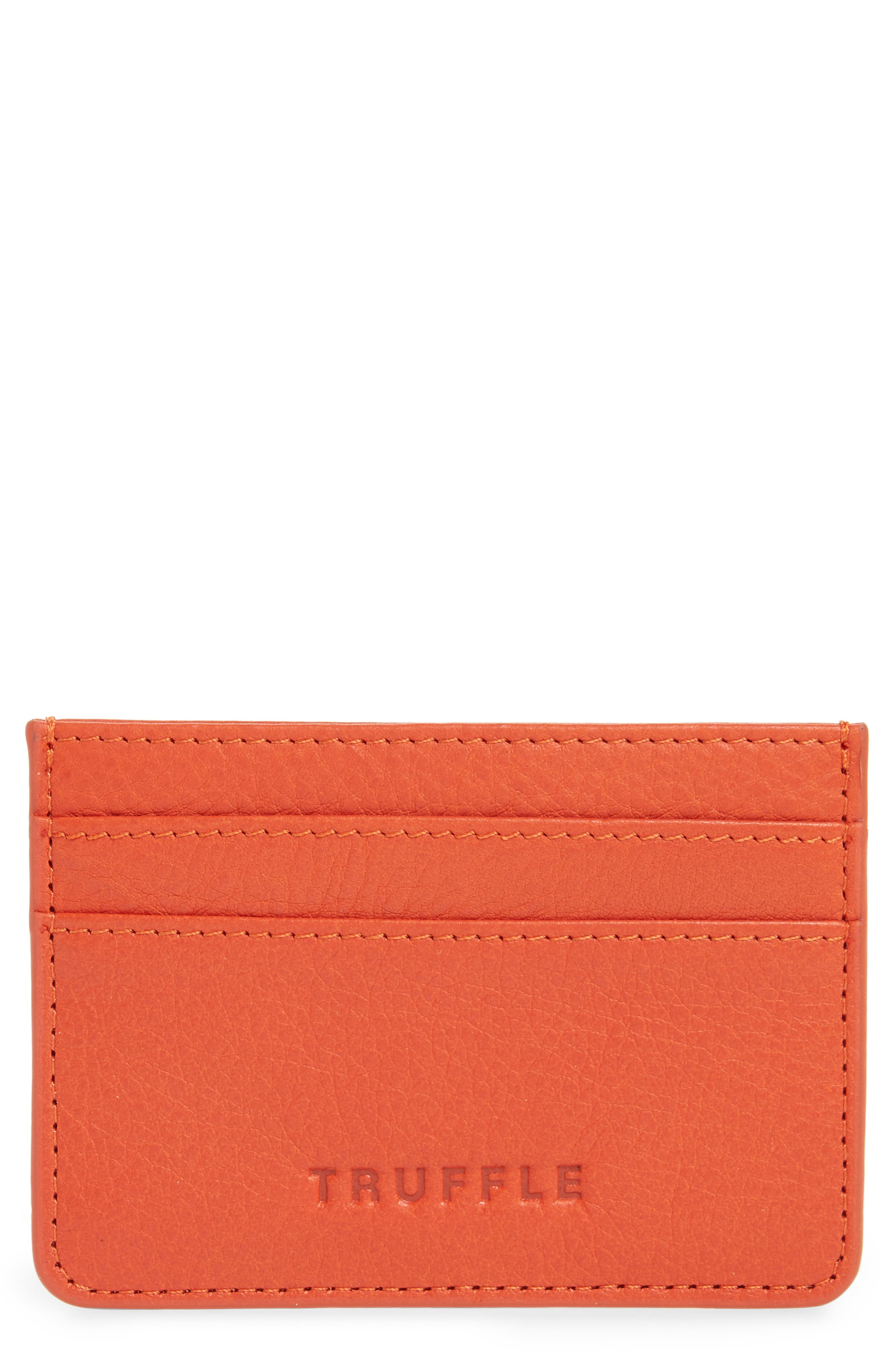 TRUFFLE, Privacy Leather Card Case, Main thumbnail 1, color, POPPY