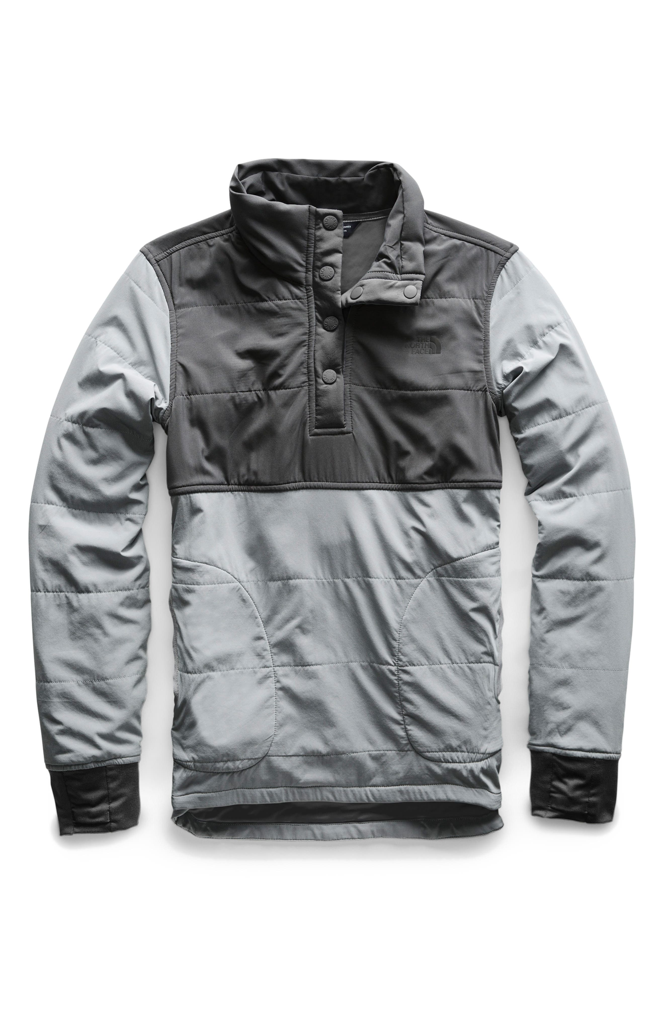 THE NORTH FACE, Mountain Insulated Snap Pullover Jacket, Alternate thumbnail 2, color, GREY/ MID GREY