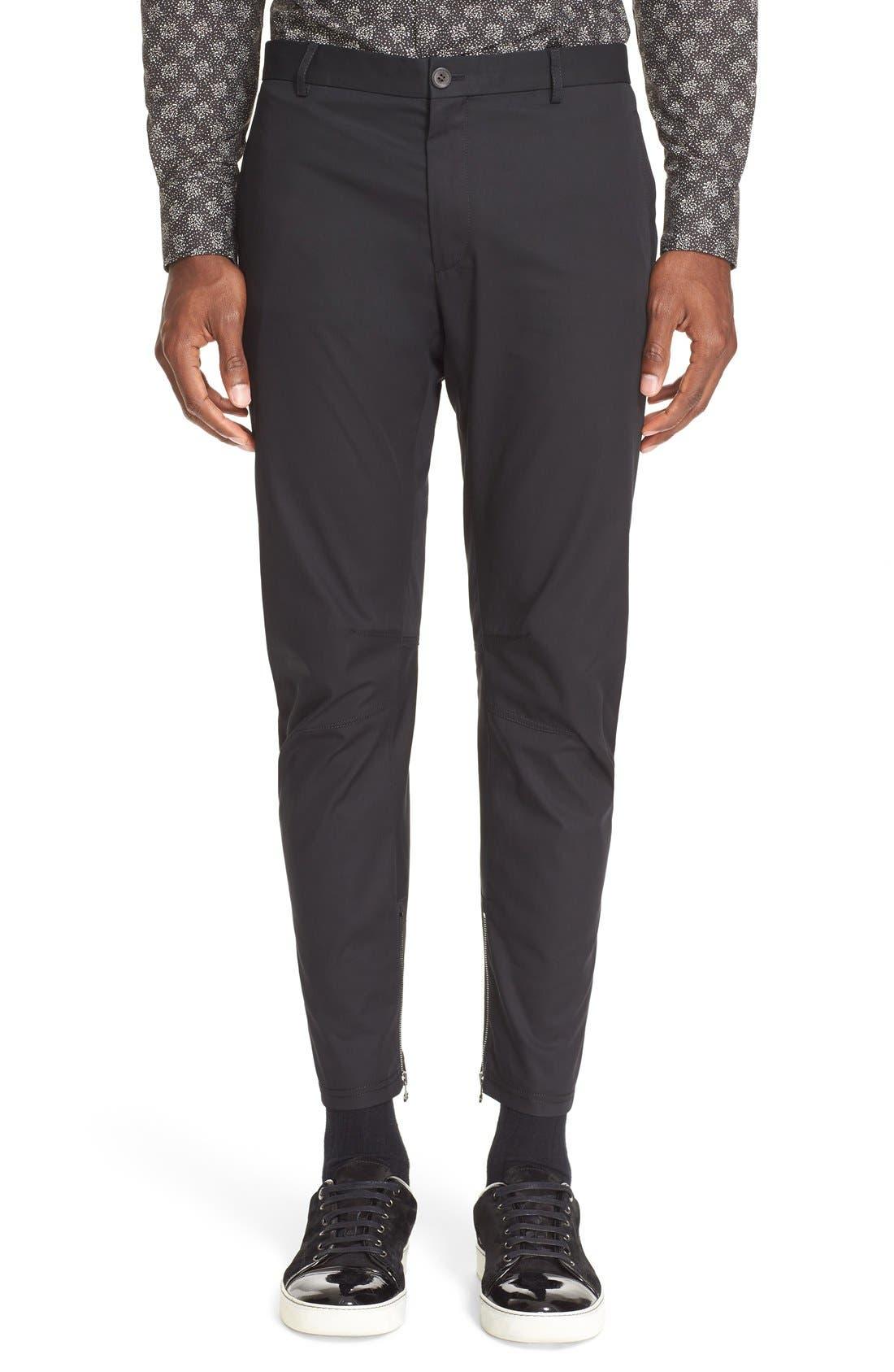 LANVIN Cotton Biker Pants, Main, color, 001