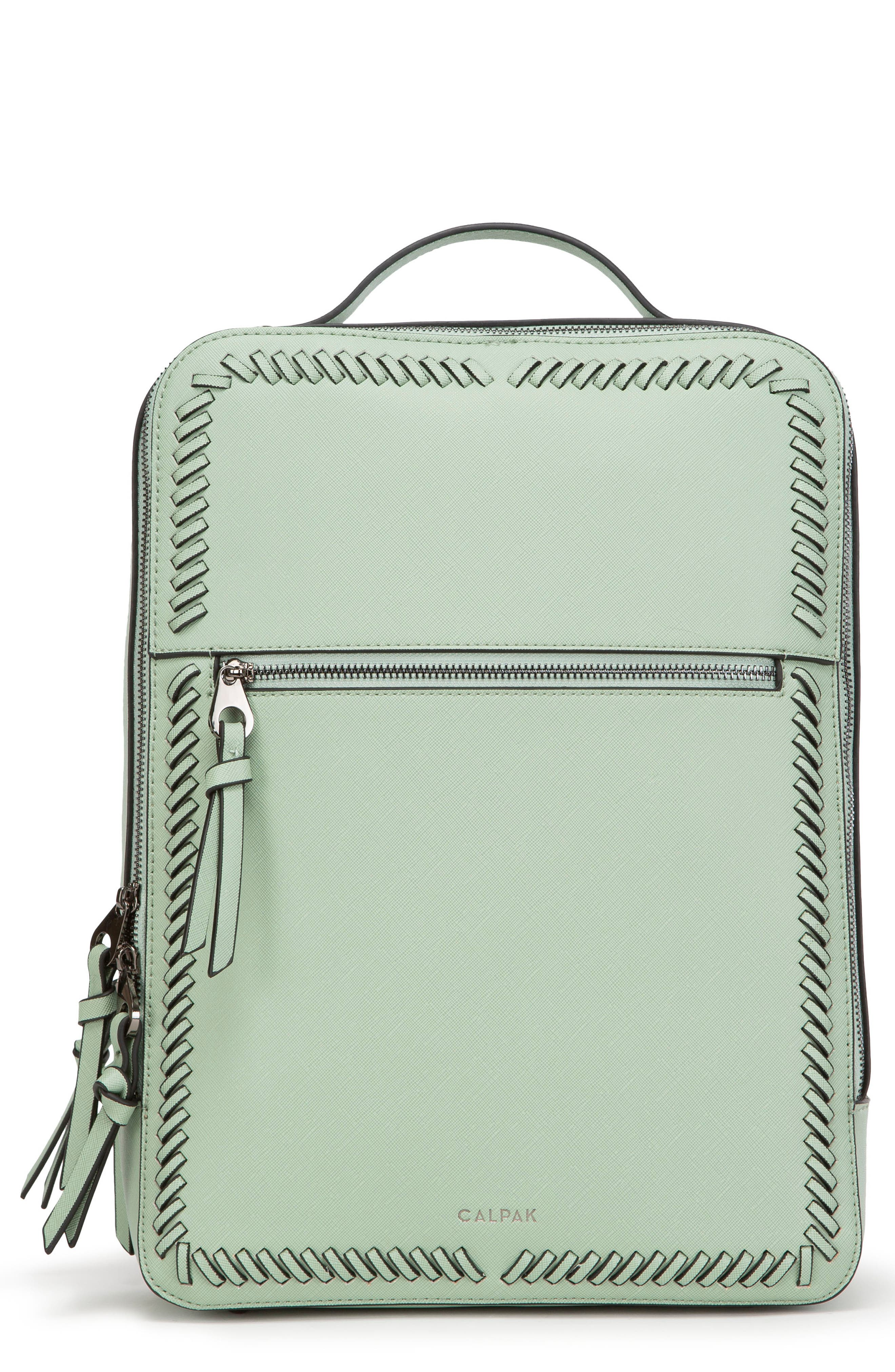 CALPAK Kaya Faux Leather Laptop Backpack, Main, color, MINT
