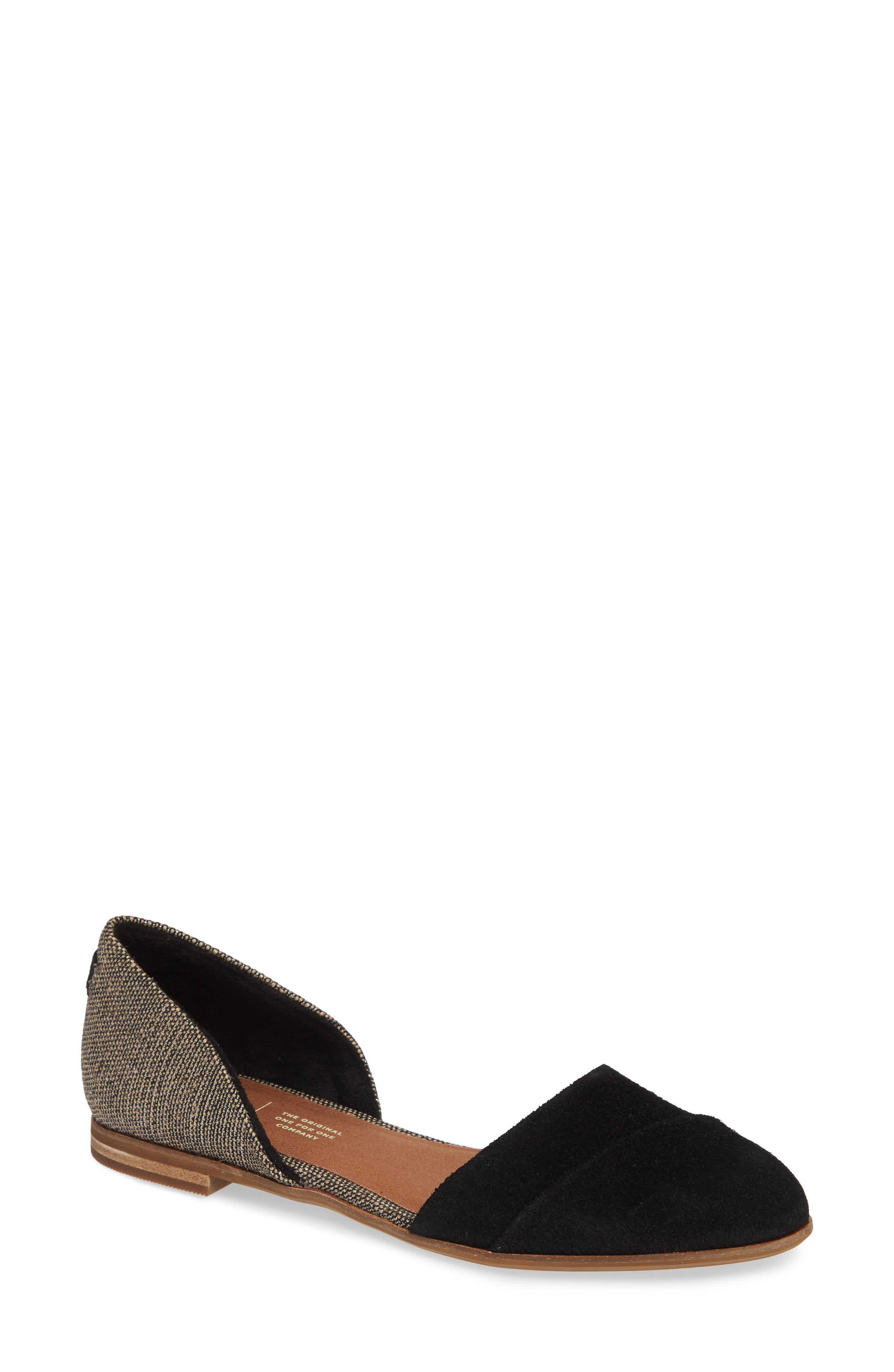 TOMS, Jutti d'Orsay Flat, Main thumbnail 1, color, BLACK SUEDE/ METALLIC WOVEN