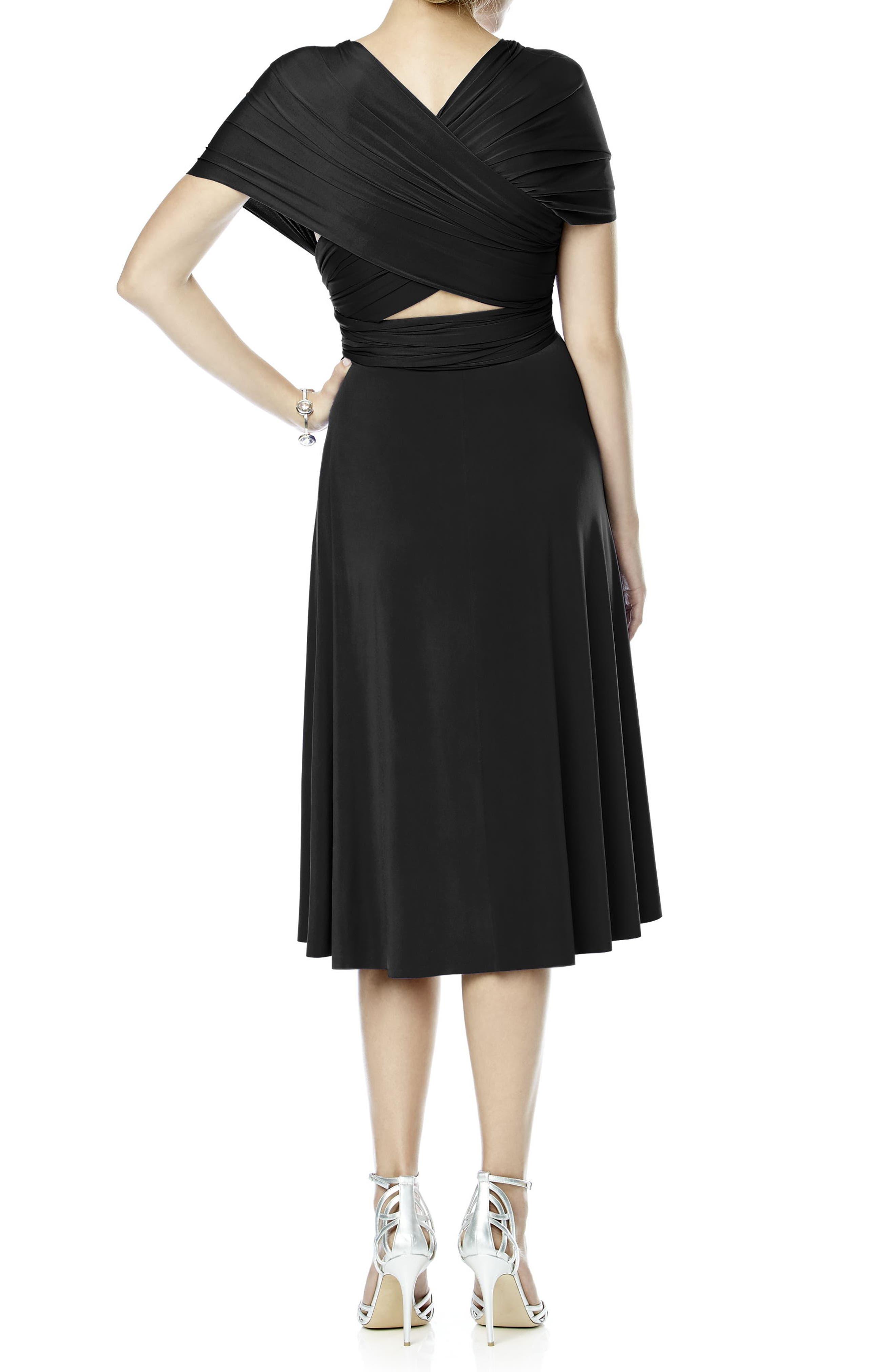 DESSY COLLECTION, Convertible Wrap Tie Surplice Jersey Dress, Alternate thumbnail 2, color, 001