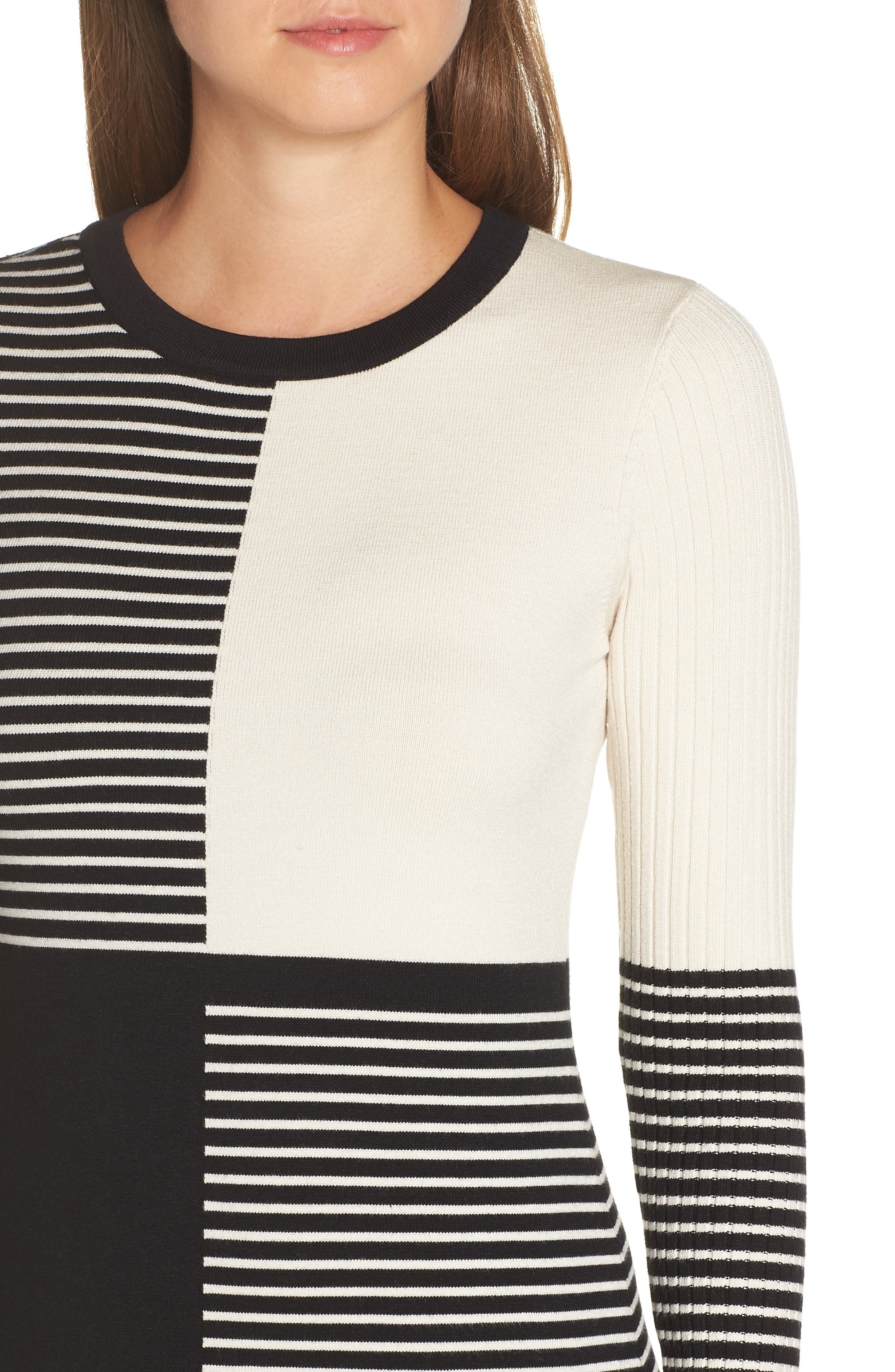 ELIZA J, Placed Stripe Sweater Dress, Alternate thumbnail 5, color, 900