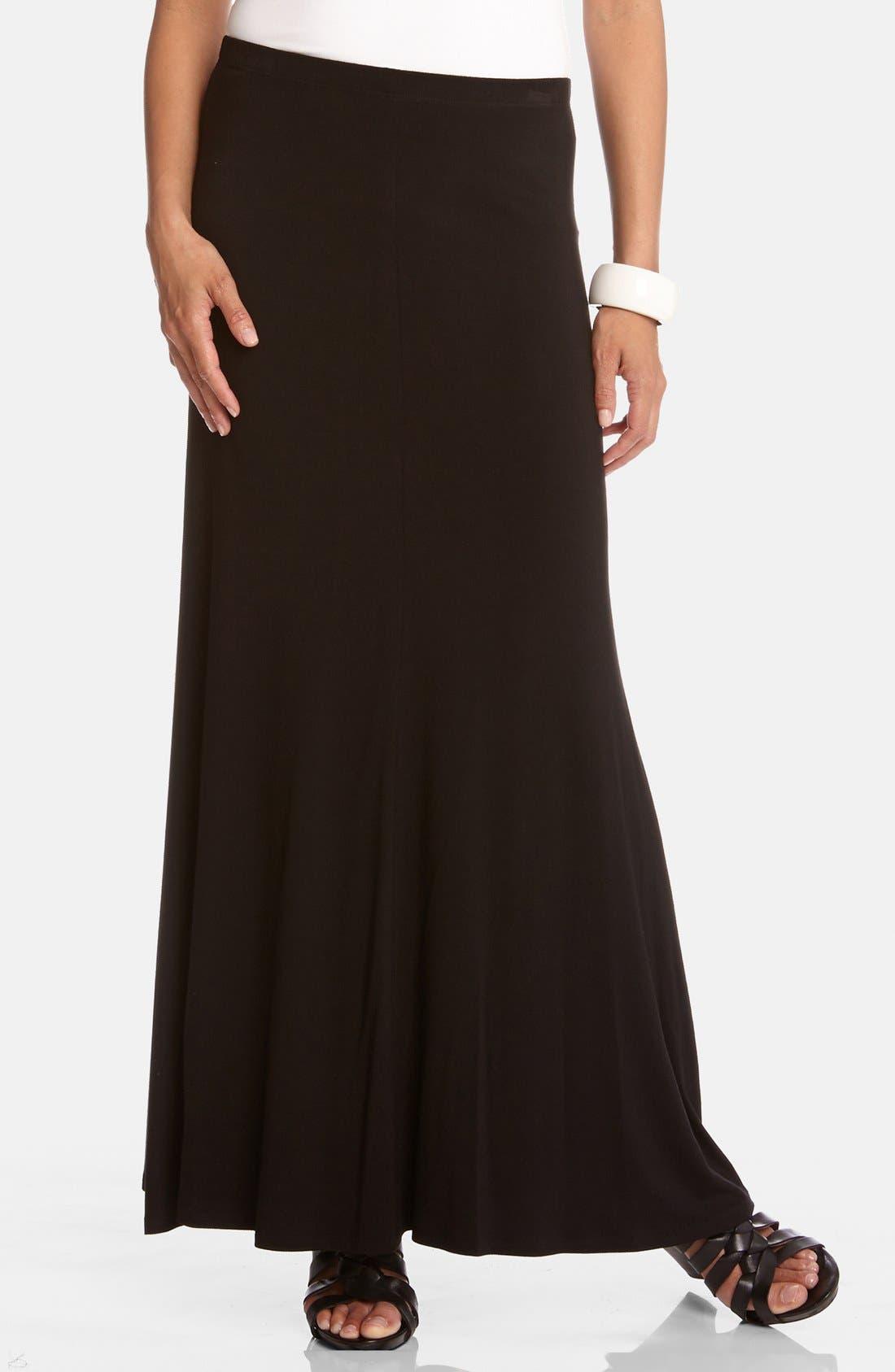 KAREN KANE, Flared Maxi Skirt, Main thumbnail 1, color, BLACK