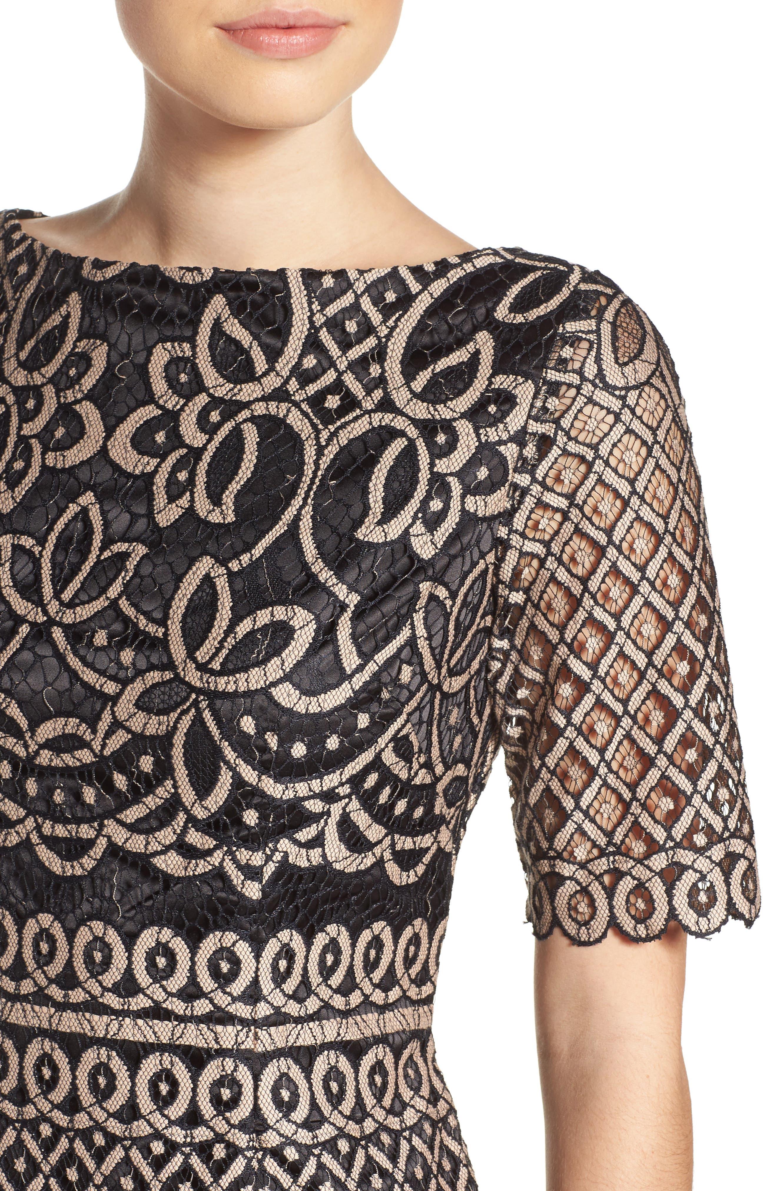 ELIZA J, Lace Sheath Dress, Alternate thumbnail 5, color, 009
