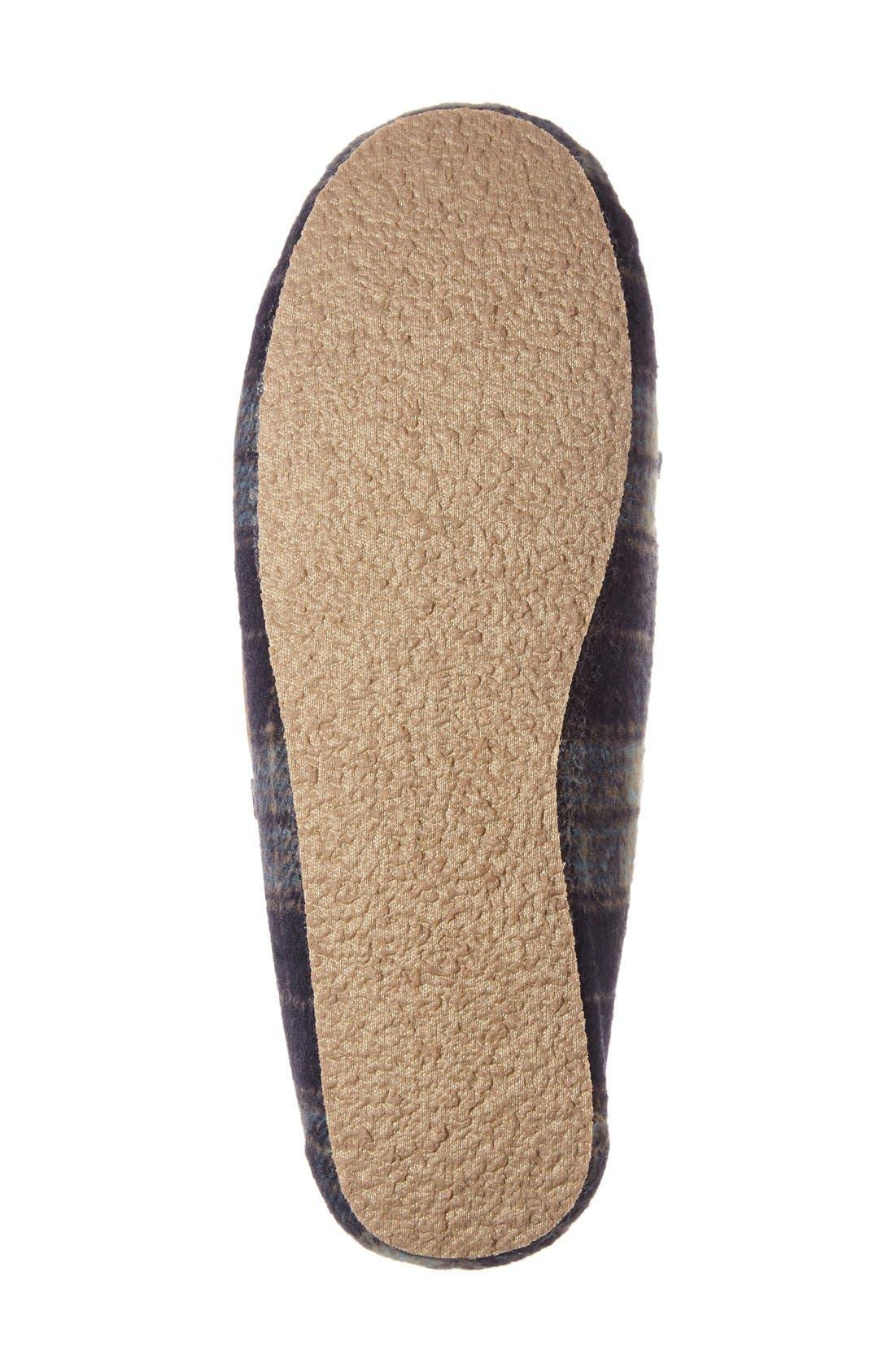 MINNETONKA, Cally Plaid Faux Fur Lined Slipper, Alternate thumbnail 4, color, NAVY