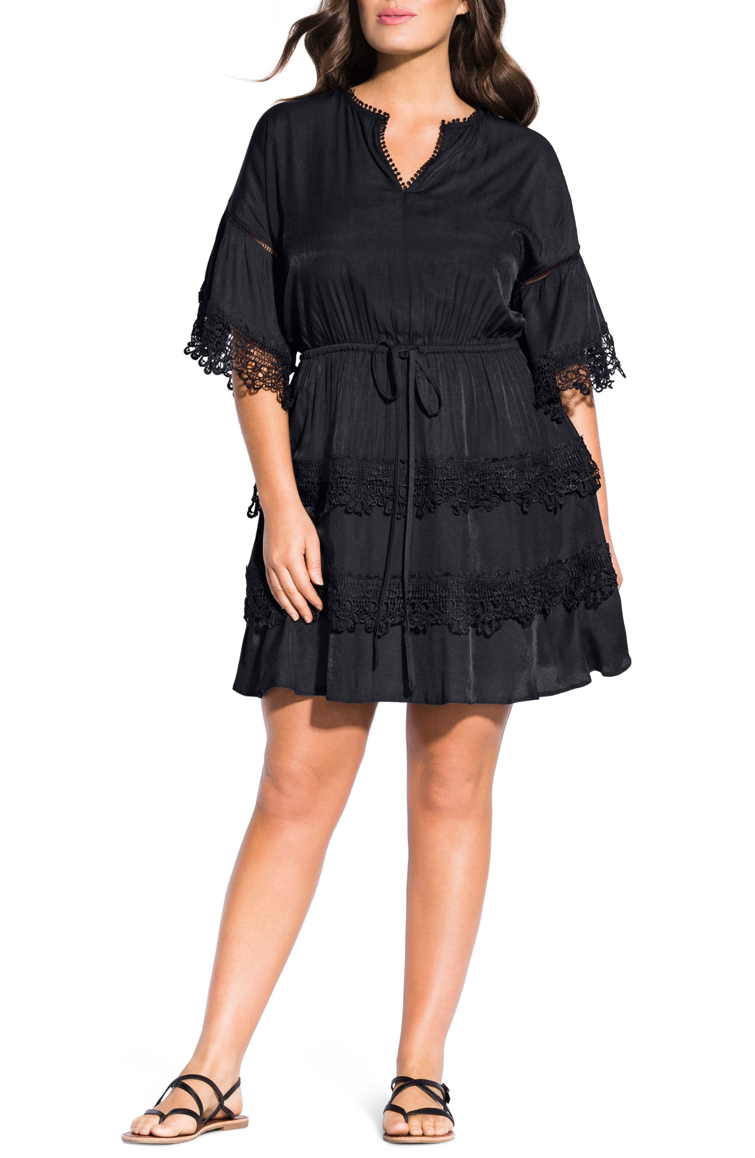 Plus Size City Chic Crochet Trim Tunic Dress, Black