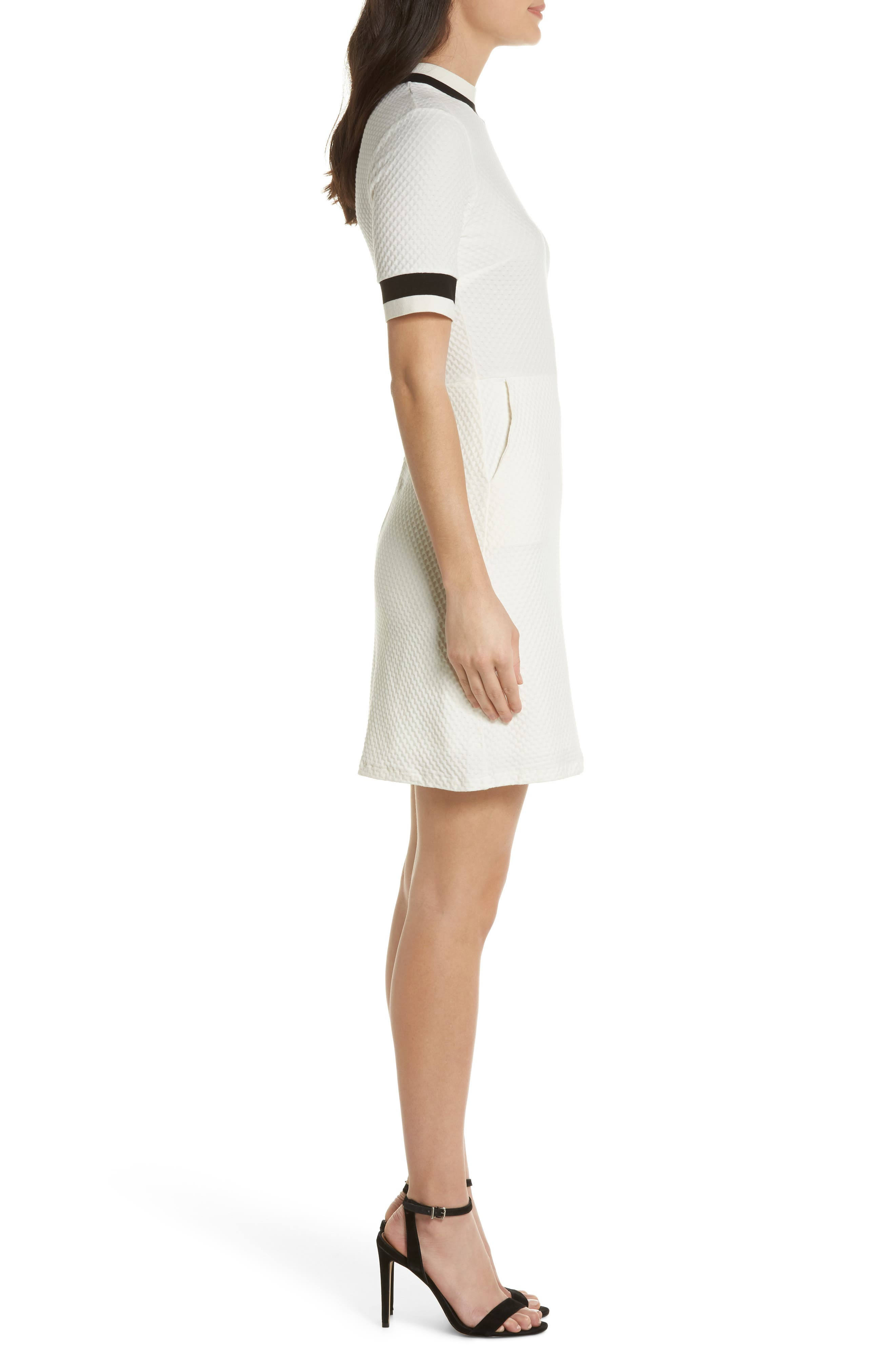 FRENCH CONNECTION, Savos Sudan Jersey Dress, Alternate thumbnail 4, color, BLACK/ SUMMER WHITE