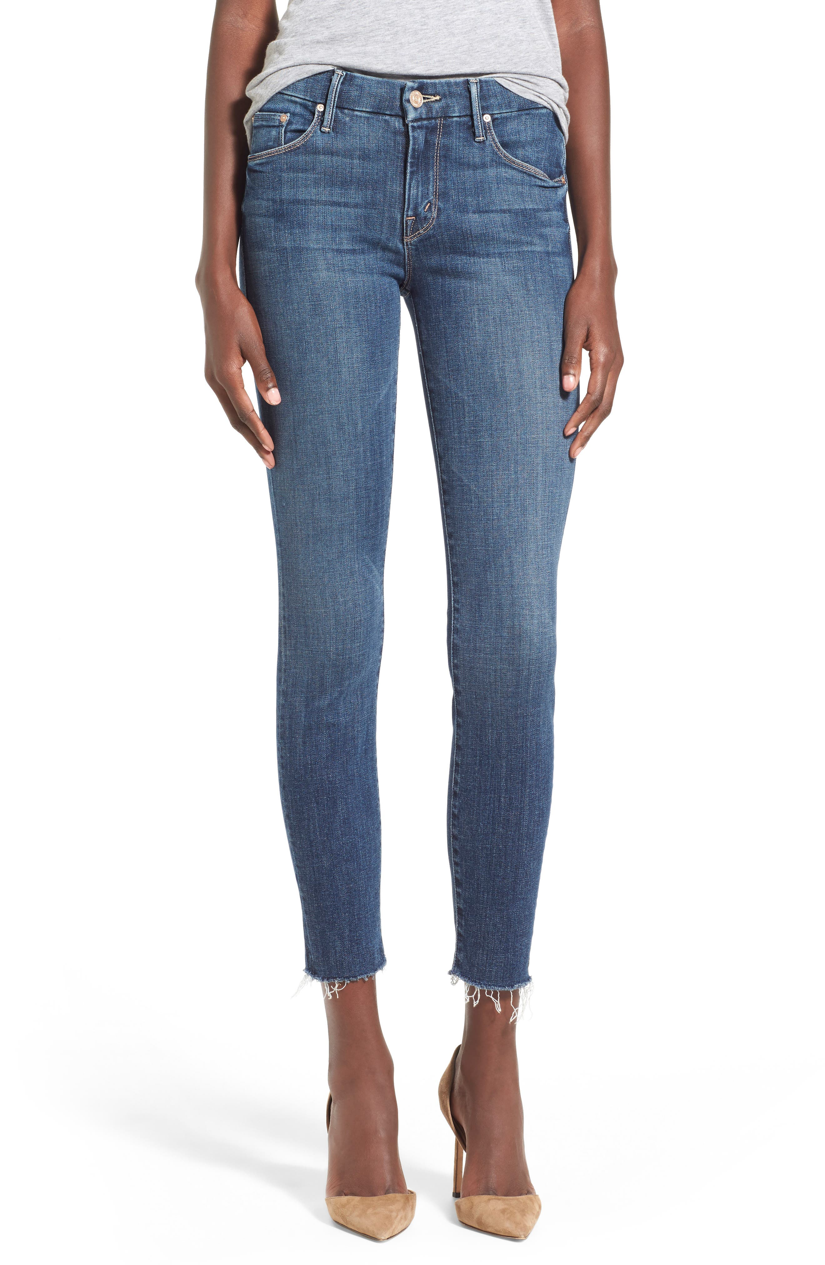 MOTHER 'TheLooker'Frayed Ankle Jeans, Main, color, 417
