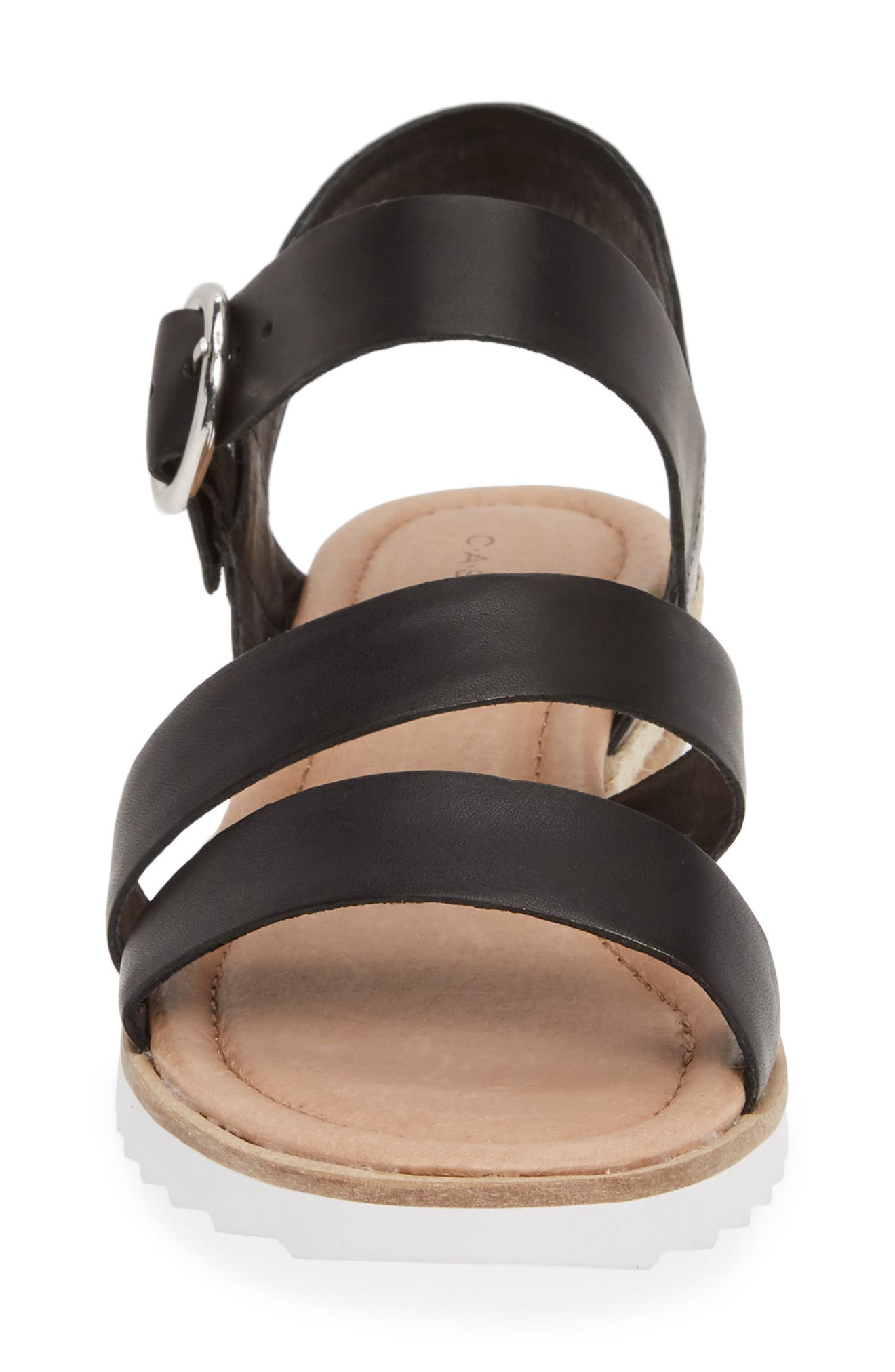 CASLON<SUP>®</SUP>, Caslon Cameron Espadrille Wedge Sandal, Alternate thumbnail 4, color, BLACK LEATHER