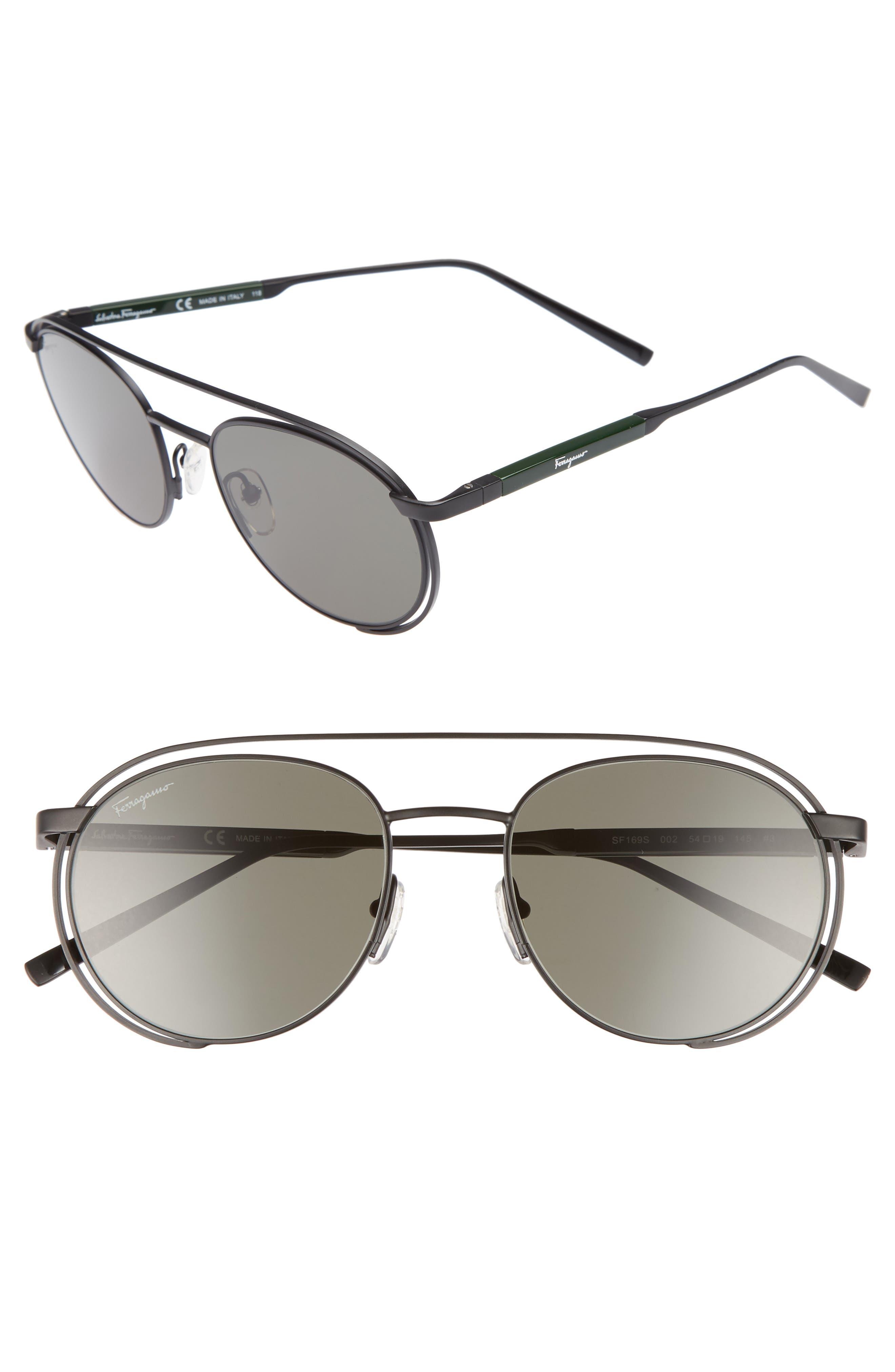 SALVATORE FERRAGAMO, 54mm Round Sunglasses, Main thumbnail 1, color, MATTE BLACK