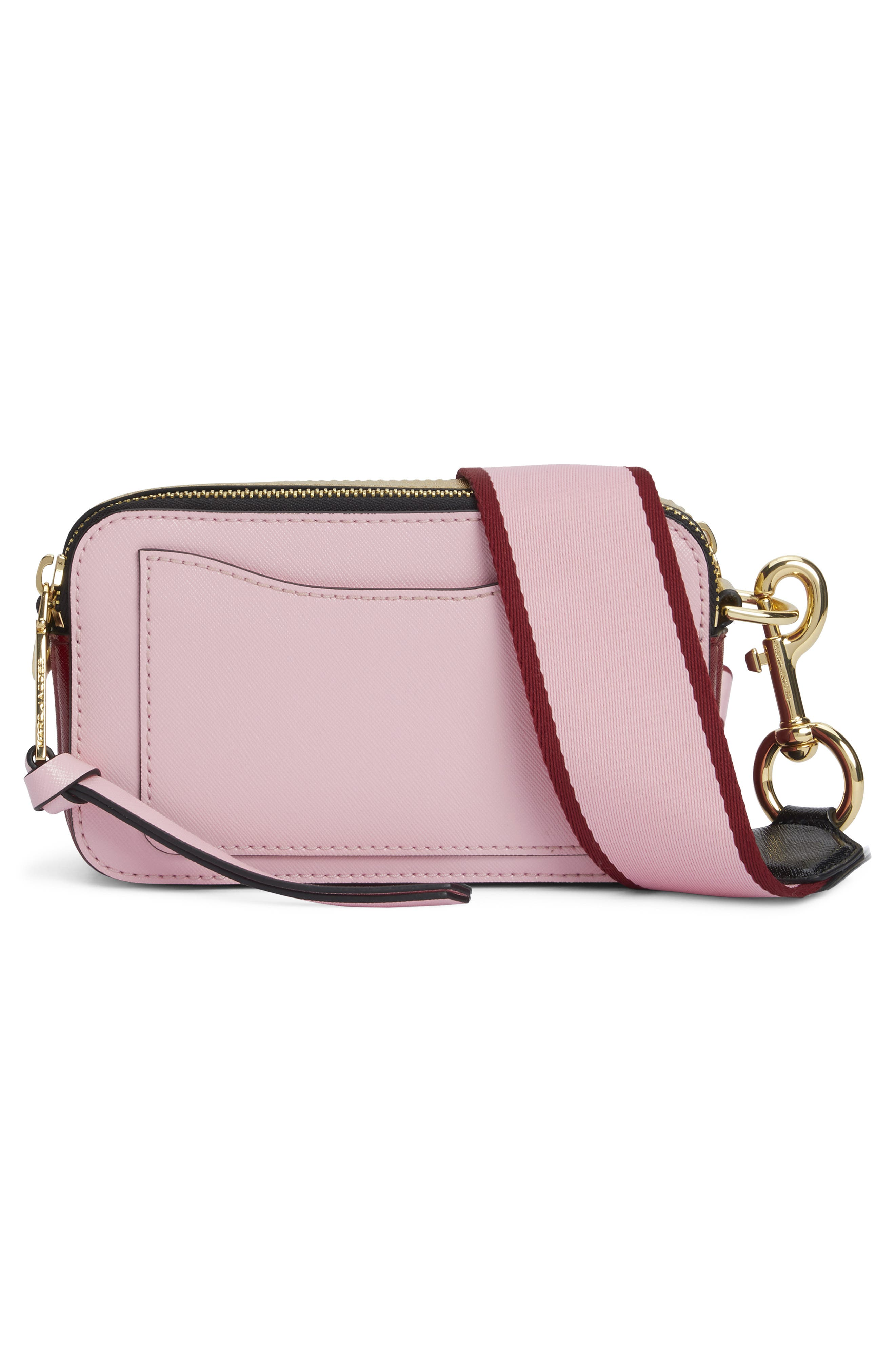 MARC JACOBS, Snapshot Crossbody Bag, Alternate thumbnail 4, color, BABY PINK/ RED