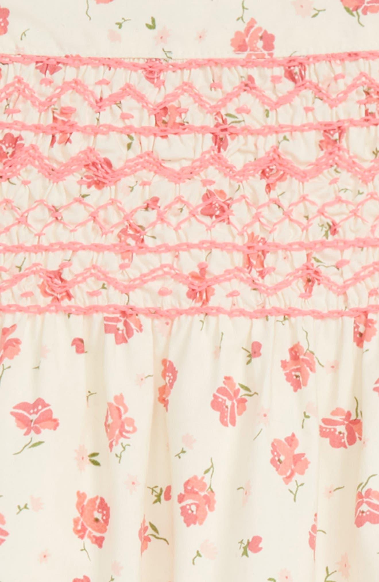 RUBY & BLOOM, Lily Print Smocked Dress, Alternate thumbnail 3, color, IVORY EGRET CASCADE FLORAL