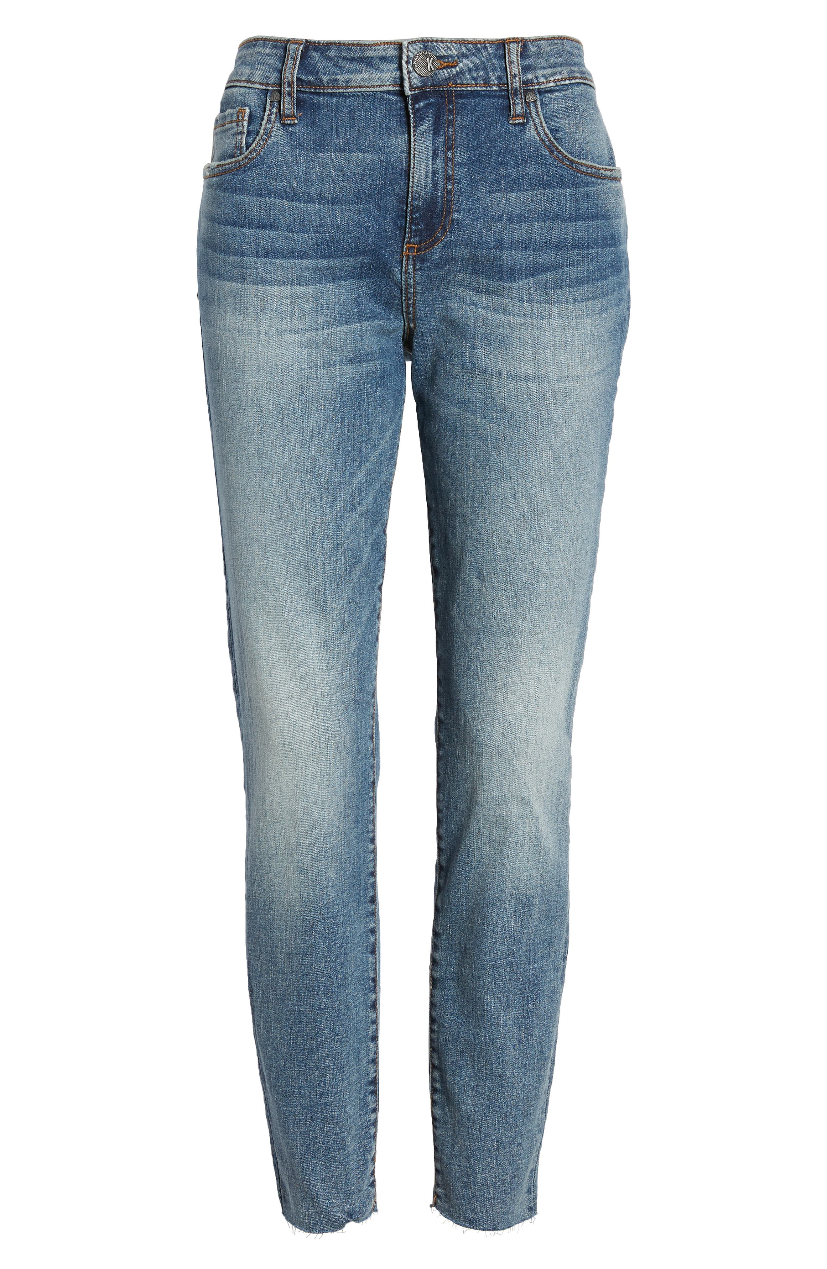 KUT FROM THE KLOTH, Donna High Waist Raw Hem Skinny Jeans, Alternate thumbnail 6, color, PHILOSOPHICAL