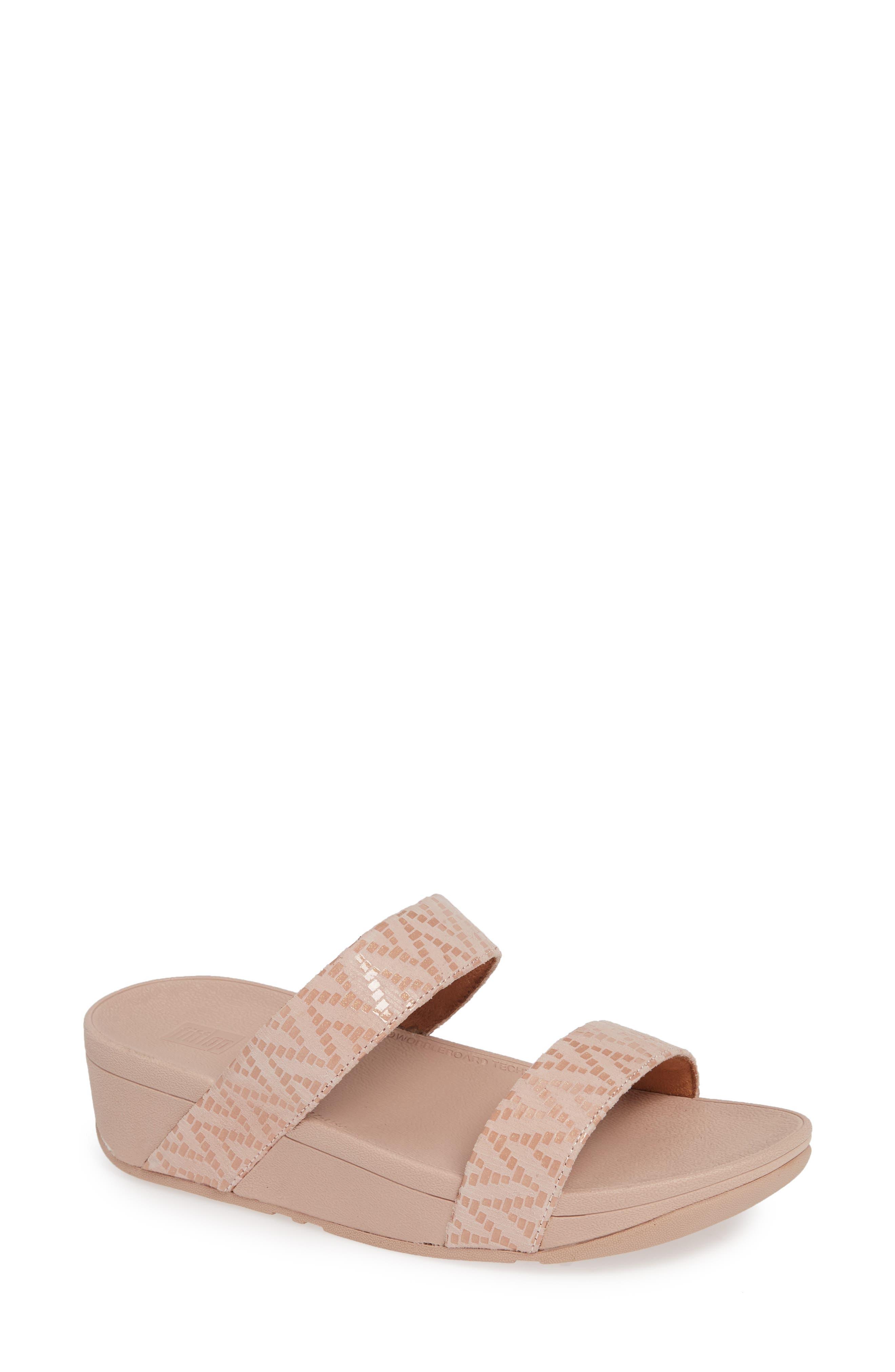 Fitflop Lottie Chevron Wedge Slide Sandal, Pink