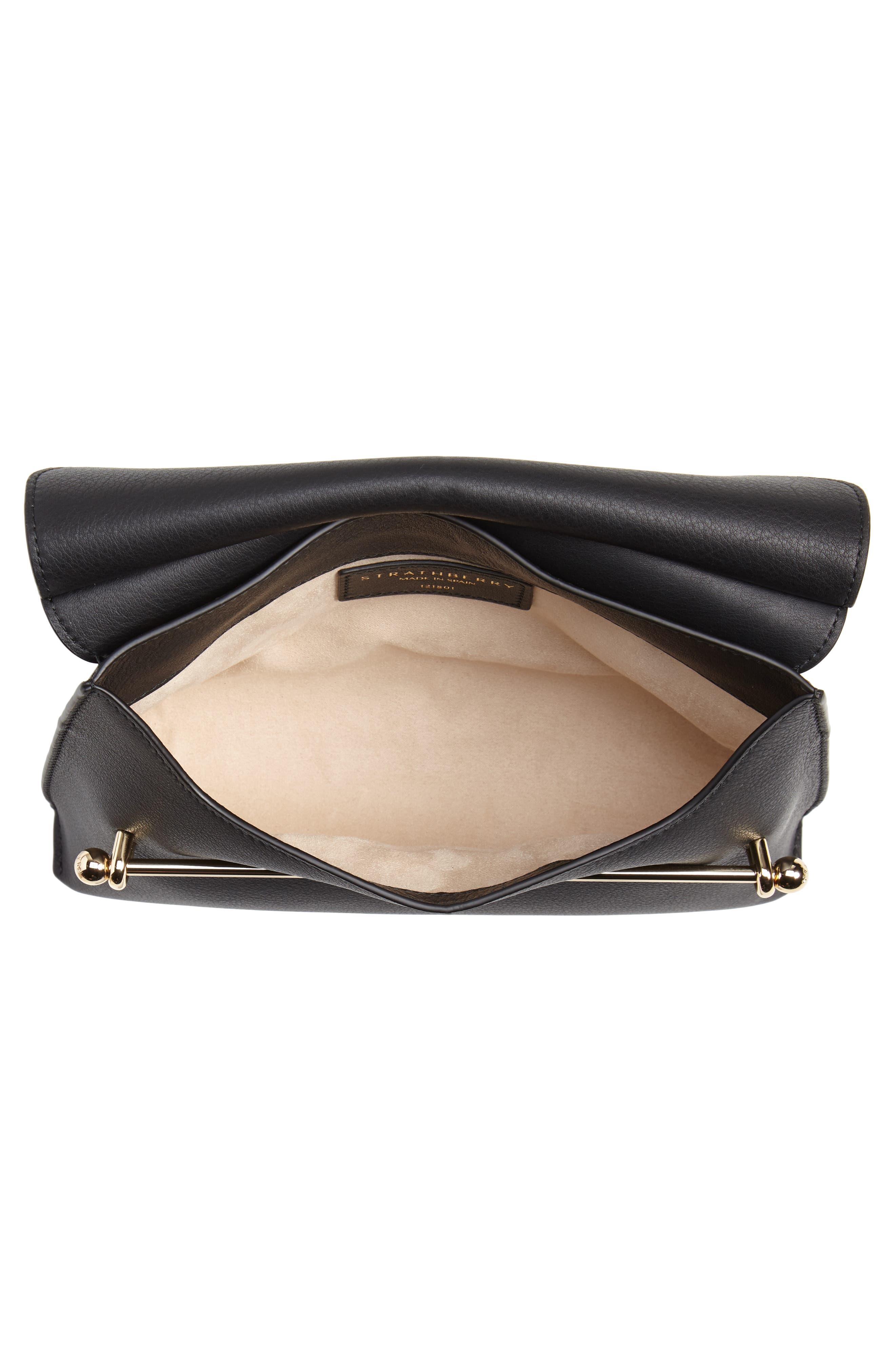 STRATHBERRY, East/West Stylist Calfskin Leather Clutch, Alternate thumbnail 4, color, BLACK