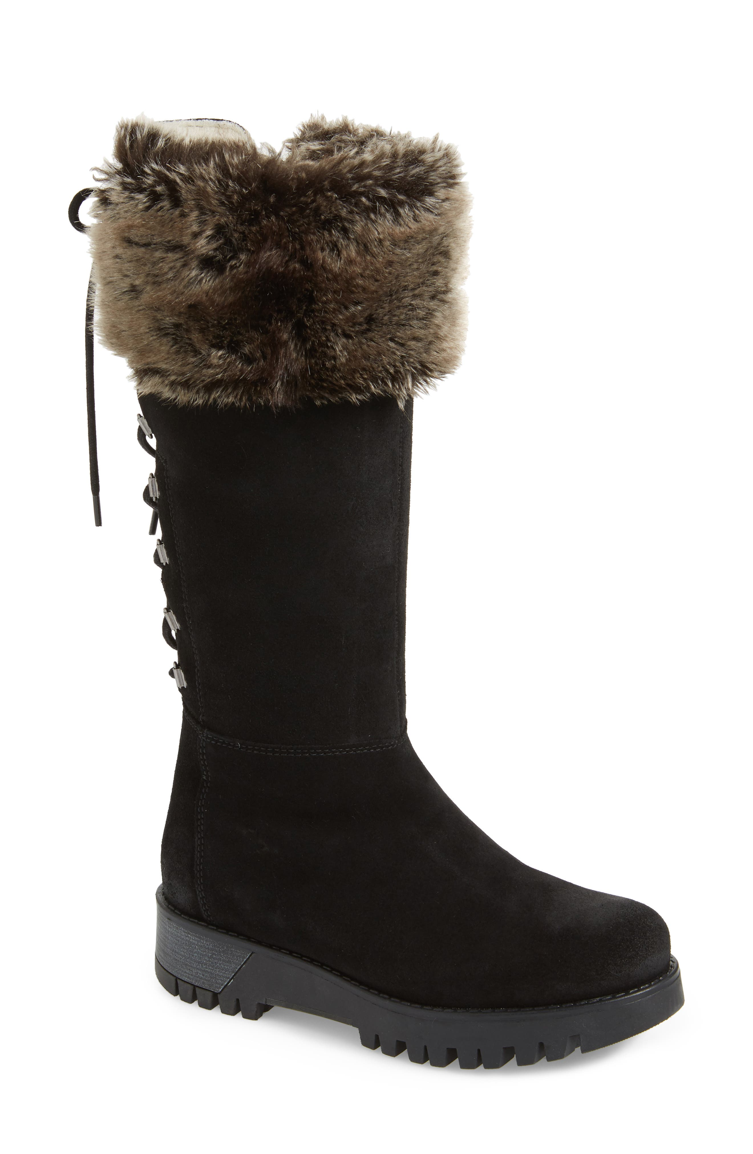 BOS. & CO., Graham Waterproof Winter Boot with Faux Fur Cuff, Main thumbnail 1, color, BLACK SUEDE
