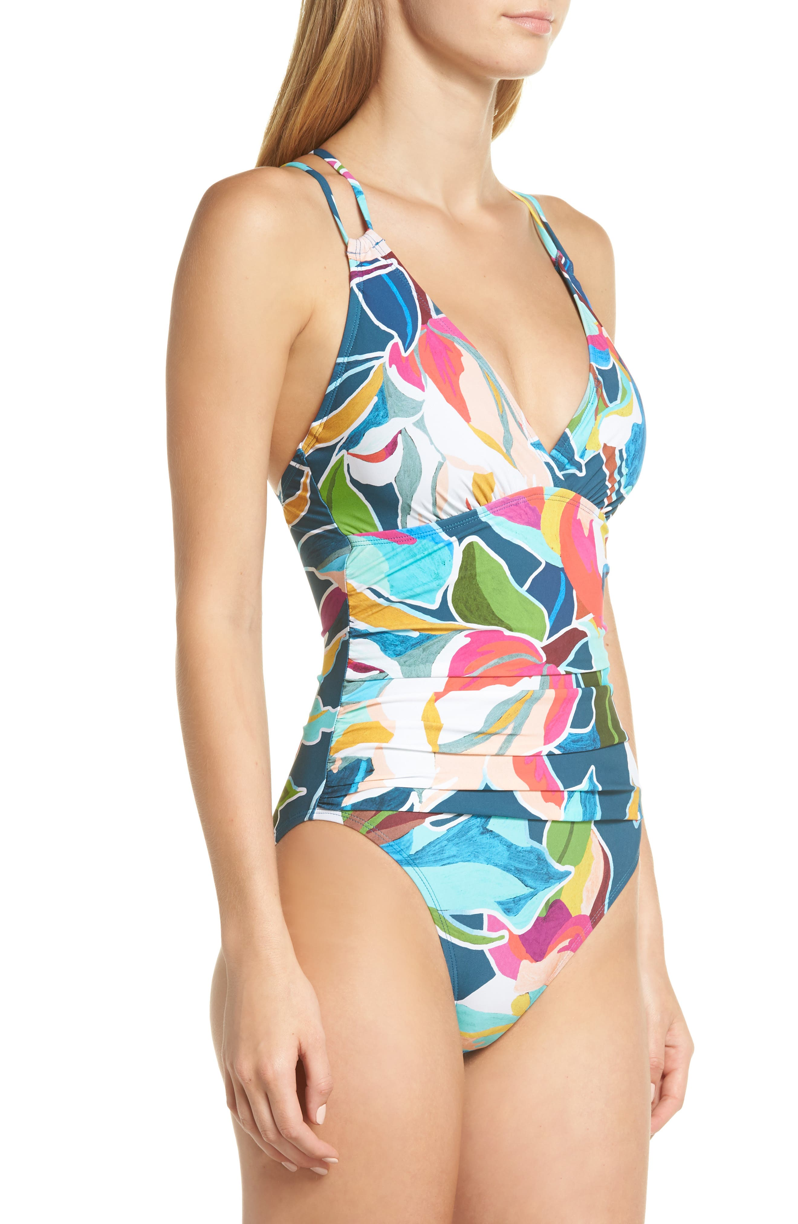 LA BLANCA, Floral Surplice One-Piece Swimsuit, Alternate thumbnail 4, color, MARINA