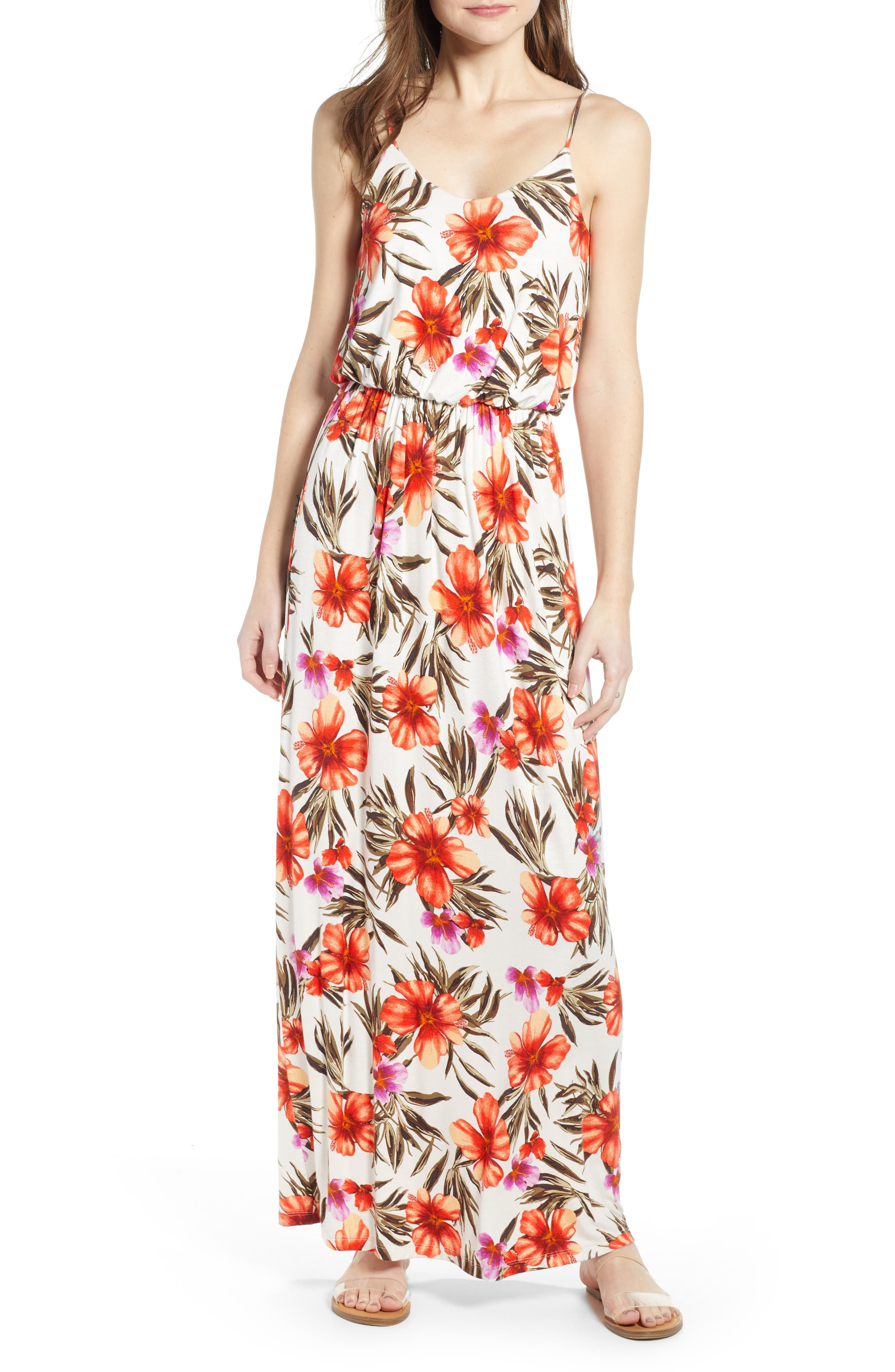 ALL IN FAVOR, Knit Maxi Dress, Main thumbnail 1, color, OFF WHITE/HOT CORAL