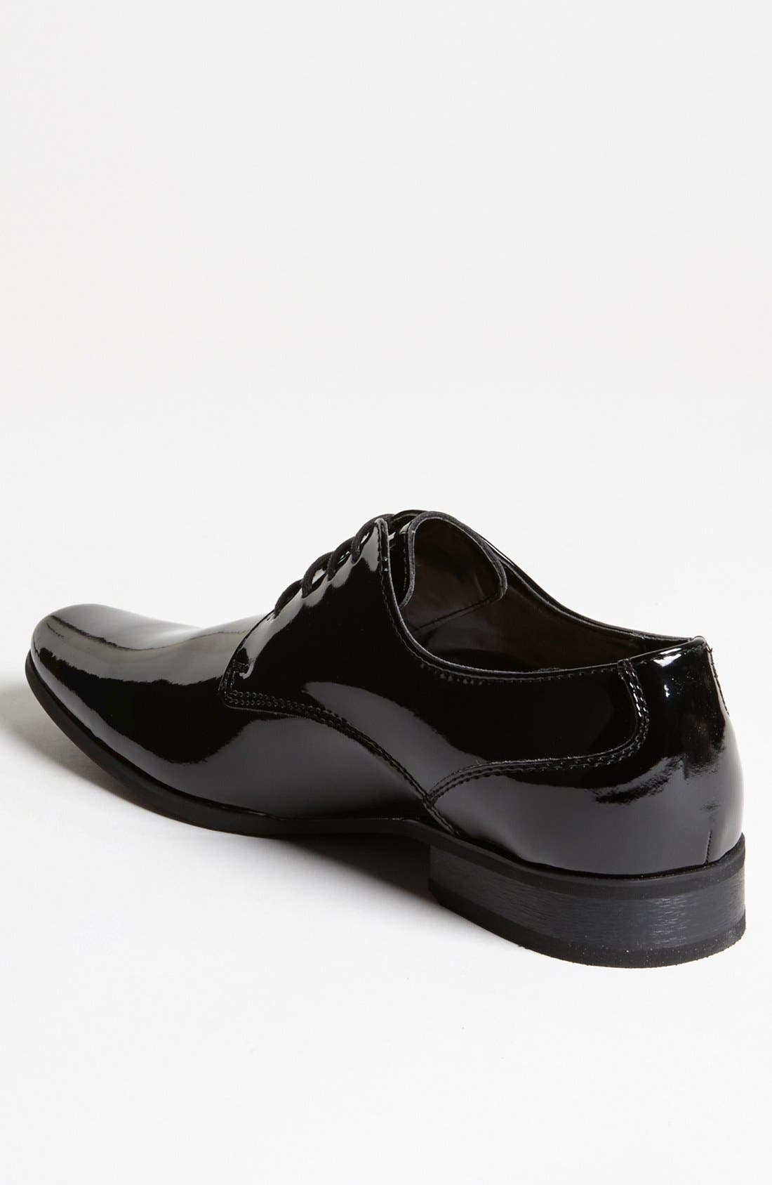 CALVIN KLEIN, 'Brodie' Plain Toe Derby, Alternate thumbnail 2, color, BLACK PATENT