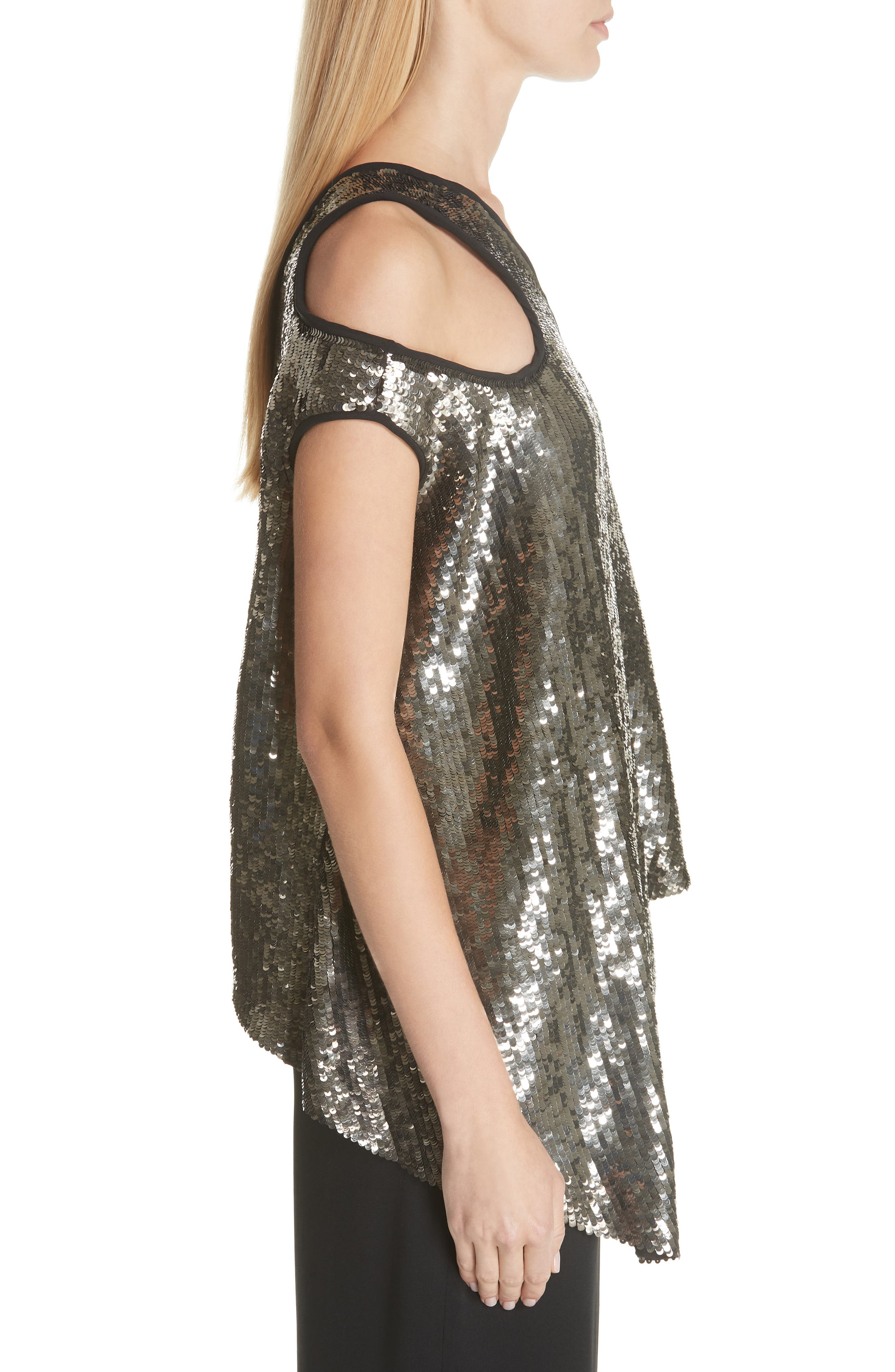 MONSE, Cutout Shoulder Sequin Tank, Alternate thumbnail 3, color, GUN METAL