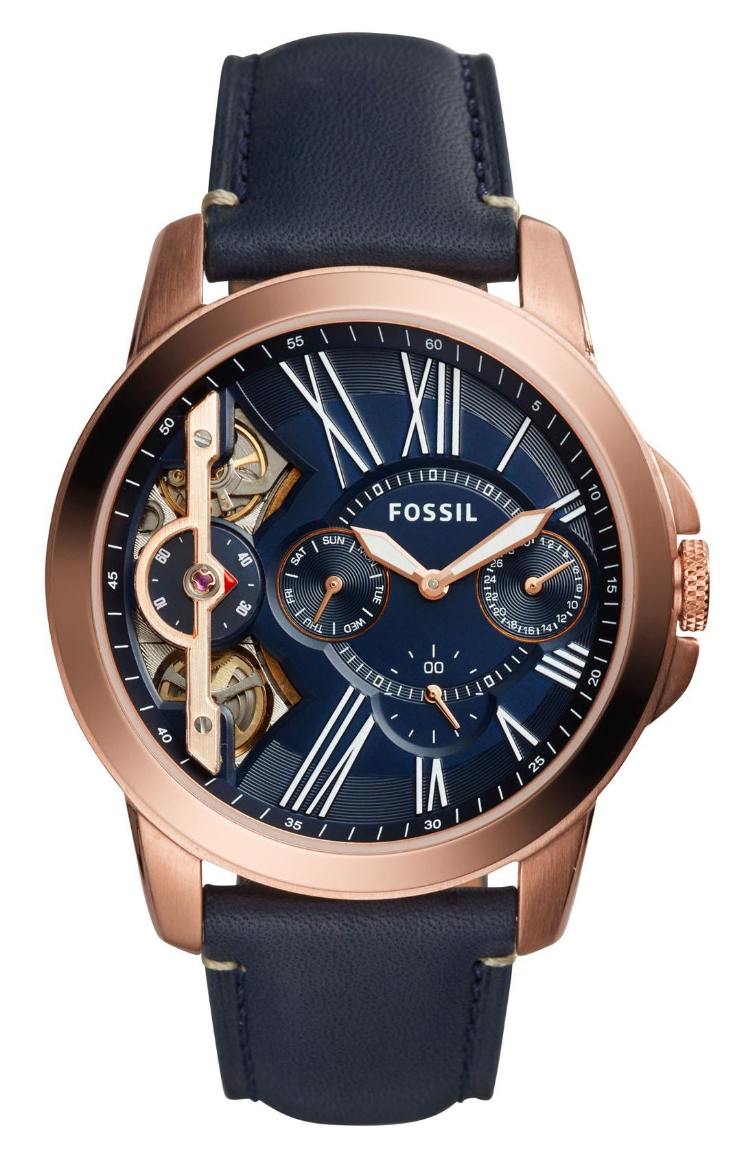 FOSSIL, 'Grant' Chronograph Leather Strap Watch, 44mm, Main thumbnail 1, color, NAVY/ ROSE GOLD