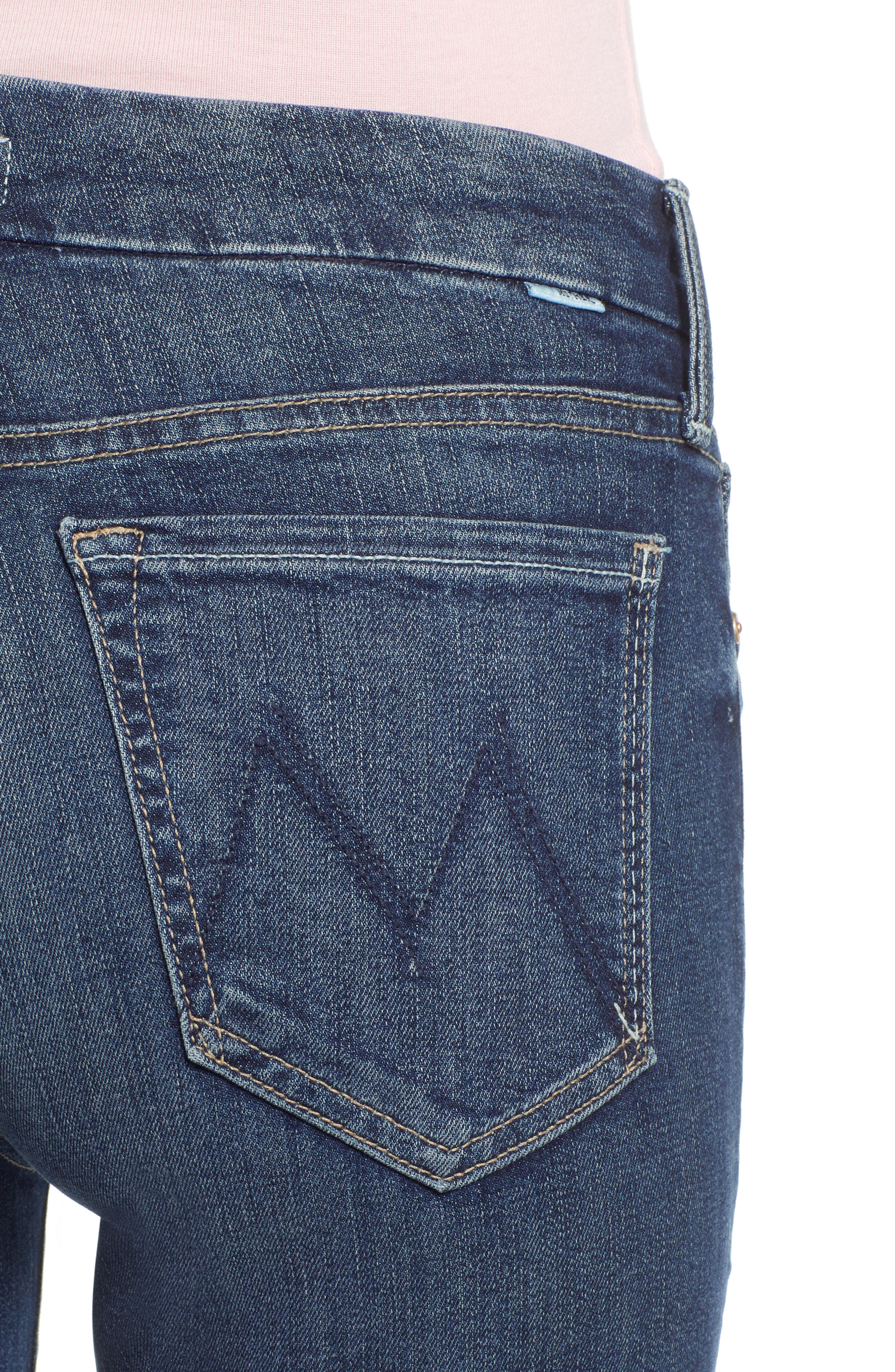 MOTHER, 'The Looker' Crop Skinny Jeans, Alternate thumbnail 5, color, ON THE EDGE