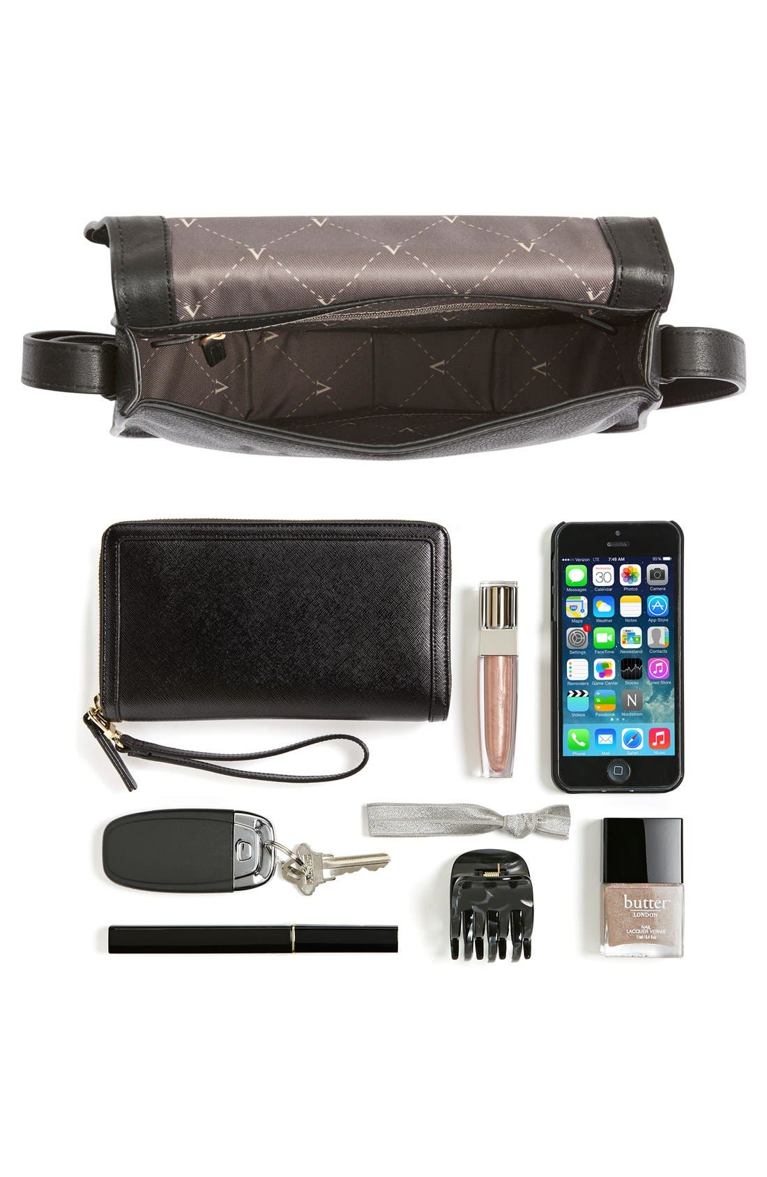 VINCE CAMUTO, 'Izzi' Tassel Leather & Suede Crossbody Bag, Alternate thumbnail 5, color, 001