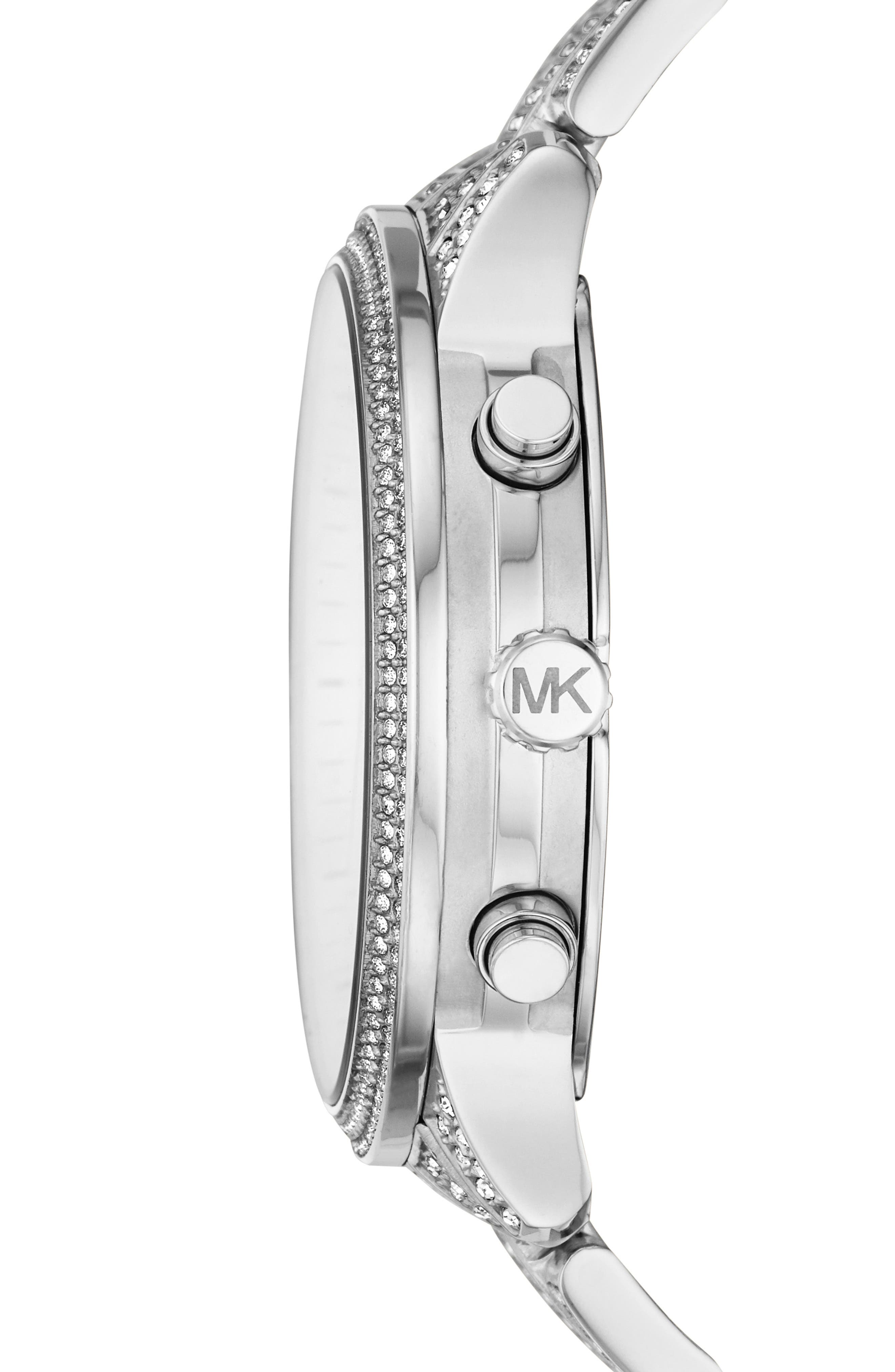 MICHAEL MICHAEL KORS, Runway Crystals Bracelet Watch, 43mm, Alternate thumbnail 2, color, SILVER