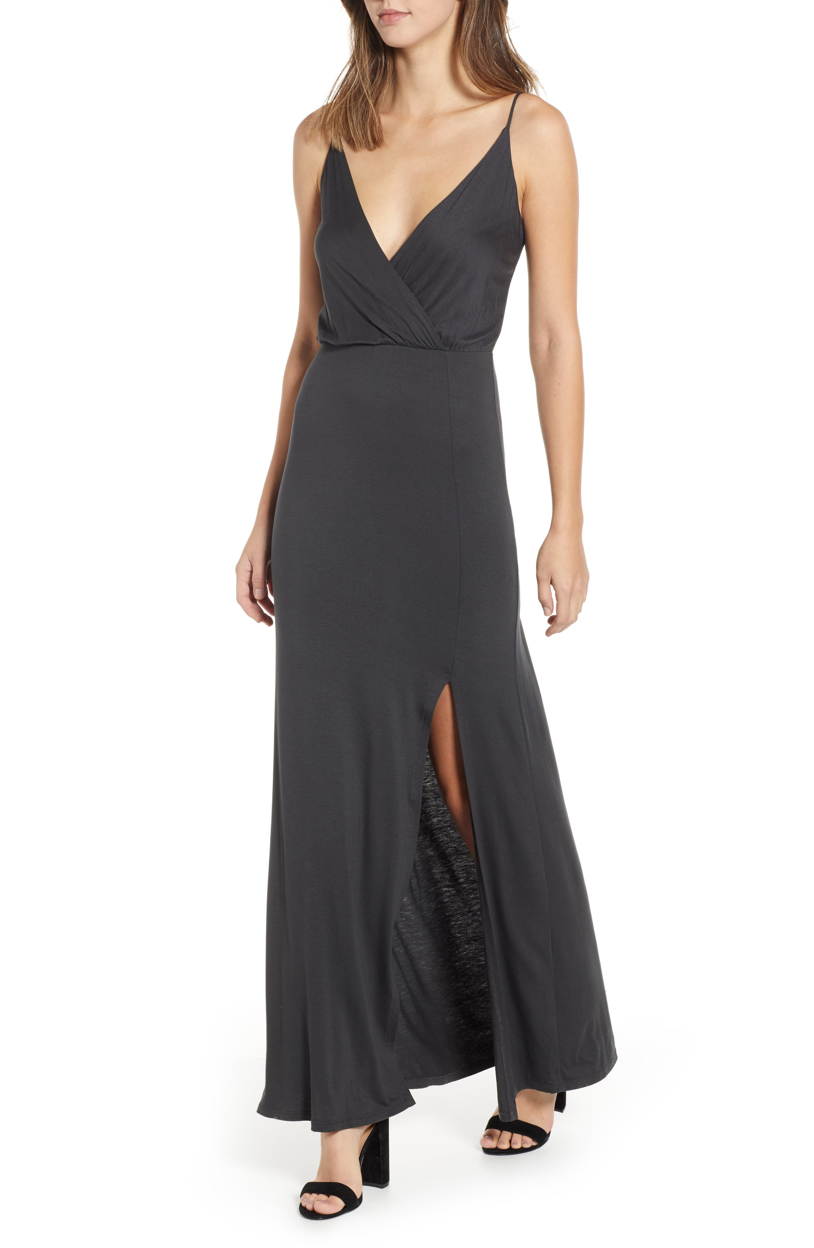 ALL IN FAVOR, Surplice Neck Knit Maxi Dress, Main thumbnail 1, color, CHARCOAL
