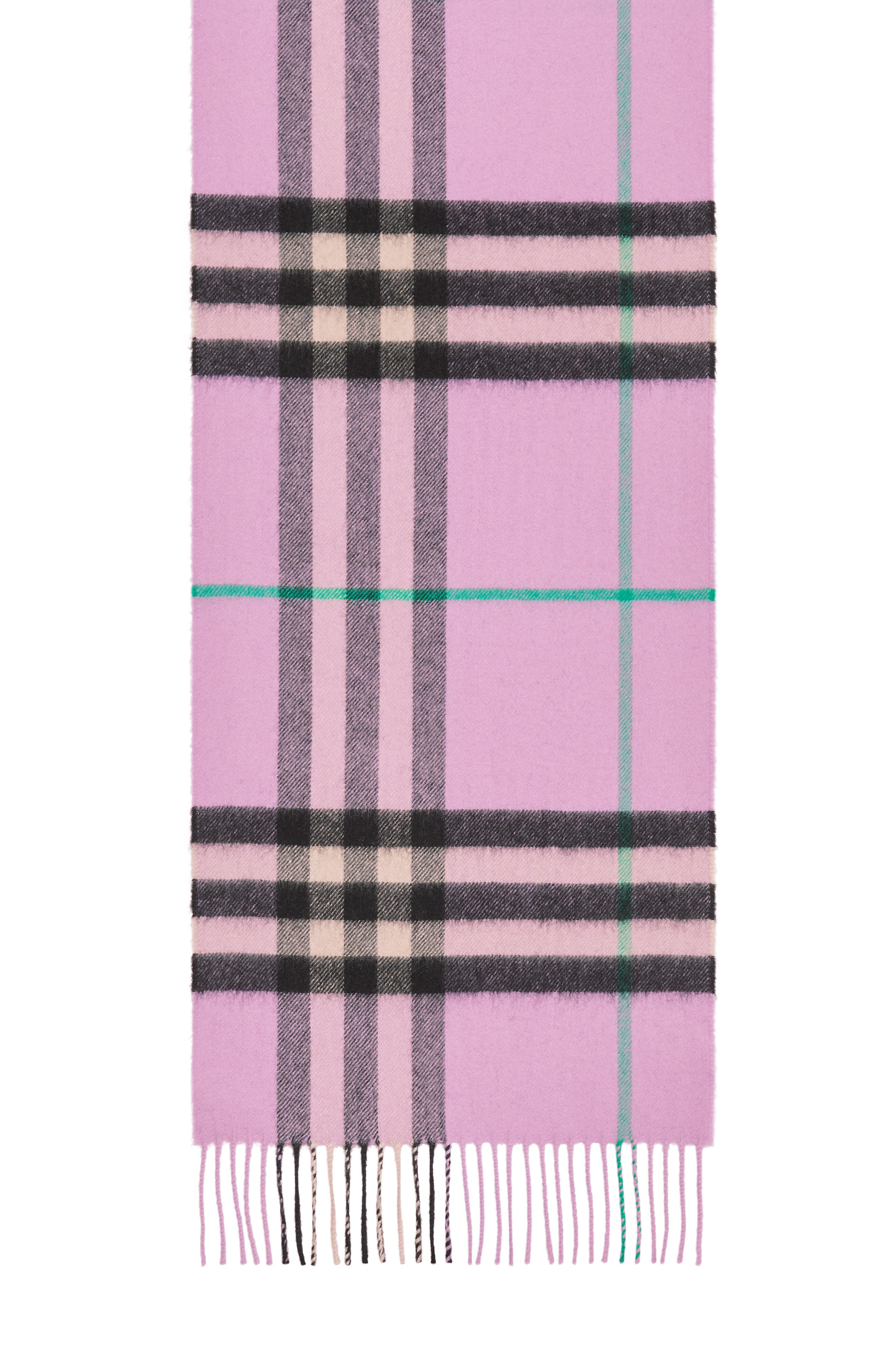 BURBERRY, Giant Check Cashmere Scarf, Alternate thumbnail 5, color, PALE HEATHER