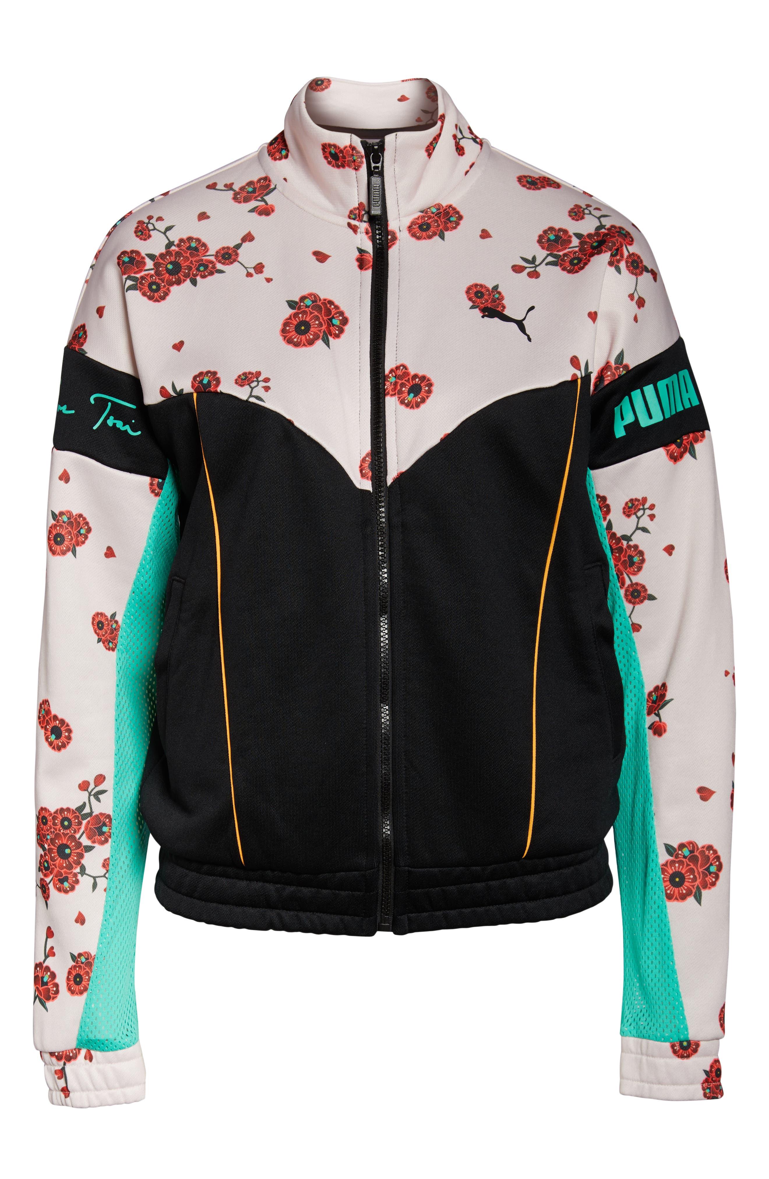 PUMA, x Sue Tsai XTG Floral Track Jacket, Alternate thumbnail 7, color, 300