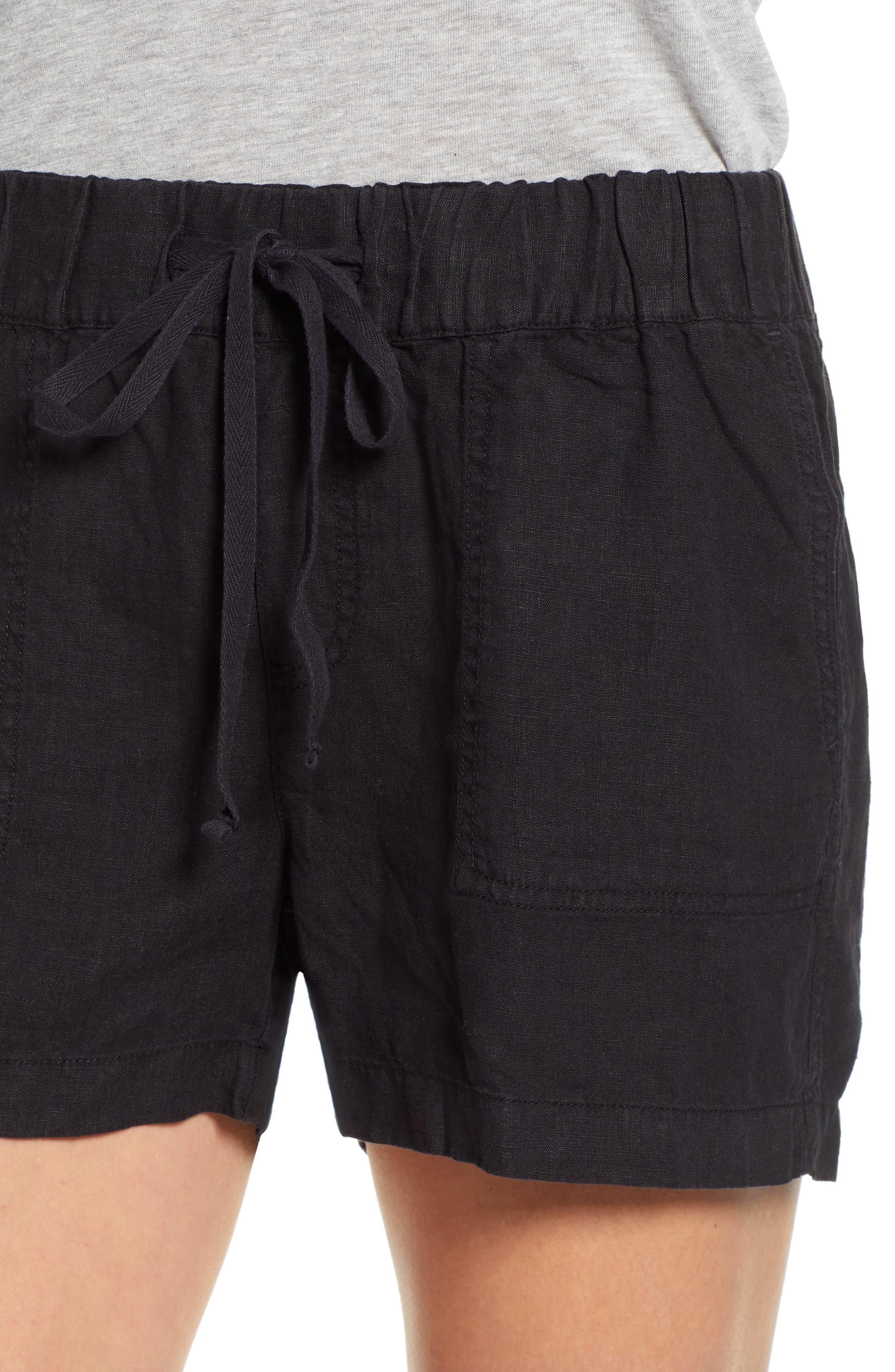 CASLON<SUP>®</SUP>, Linen Shorts, Alternate thumbnail 4, color, BLACK