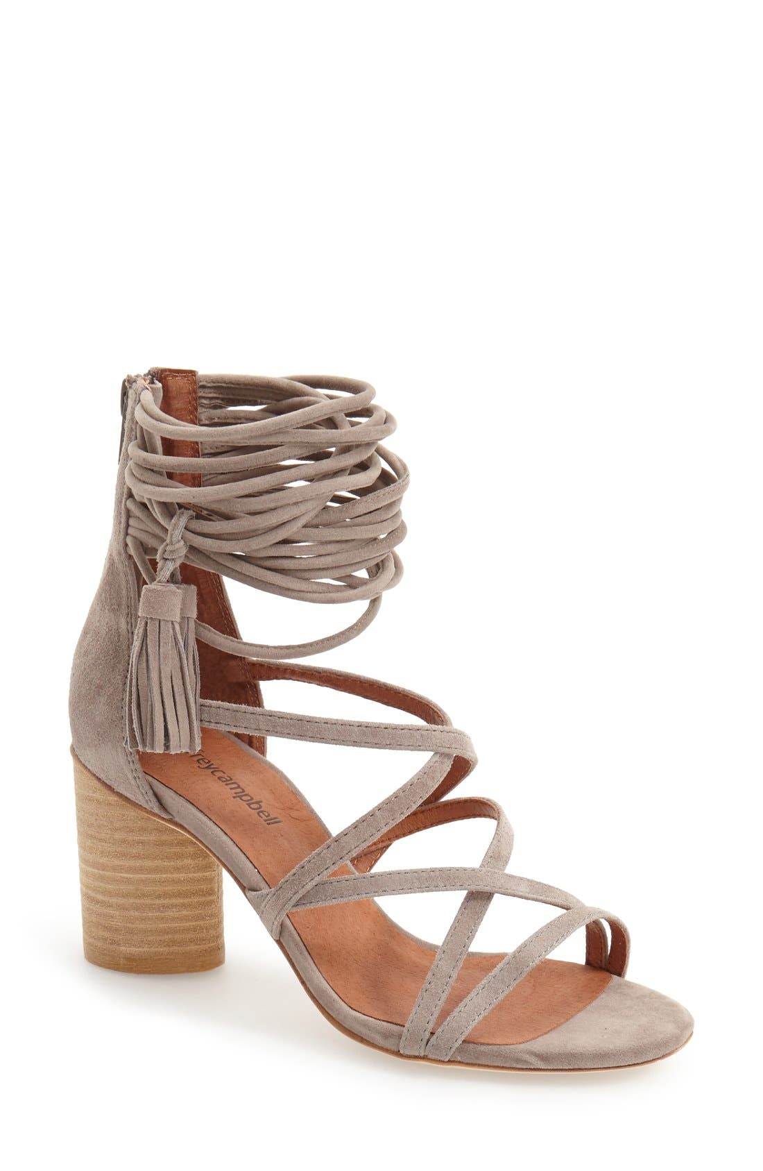 JEFFREY CAMPBELL, 'Despina' Strappy Sandal, Main thumbnail 1, color, TAUPE SUEDE