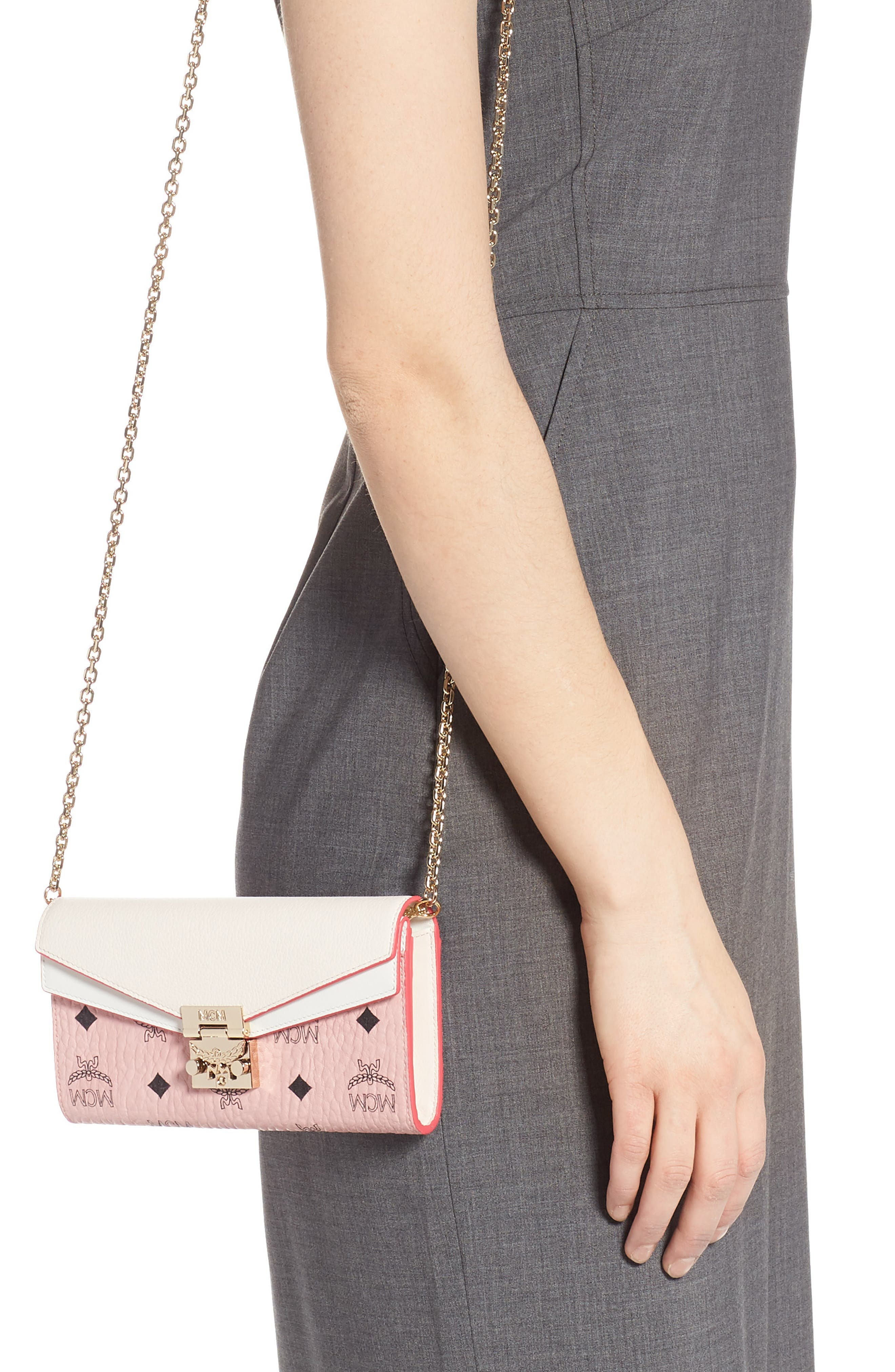 MCM, Patricia Visetos Leather Wallet on a Chain, Alternate thumbnail 2, color, SOFT PINK SHELL
