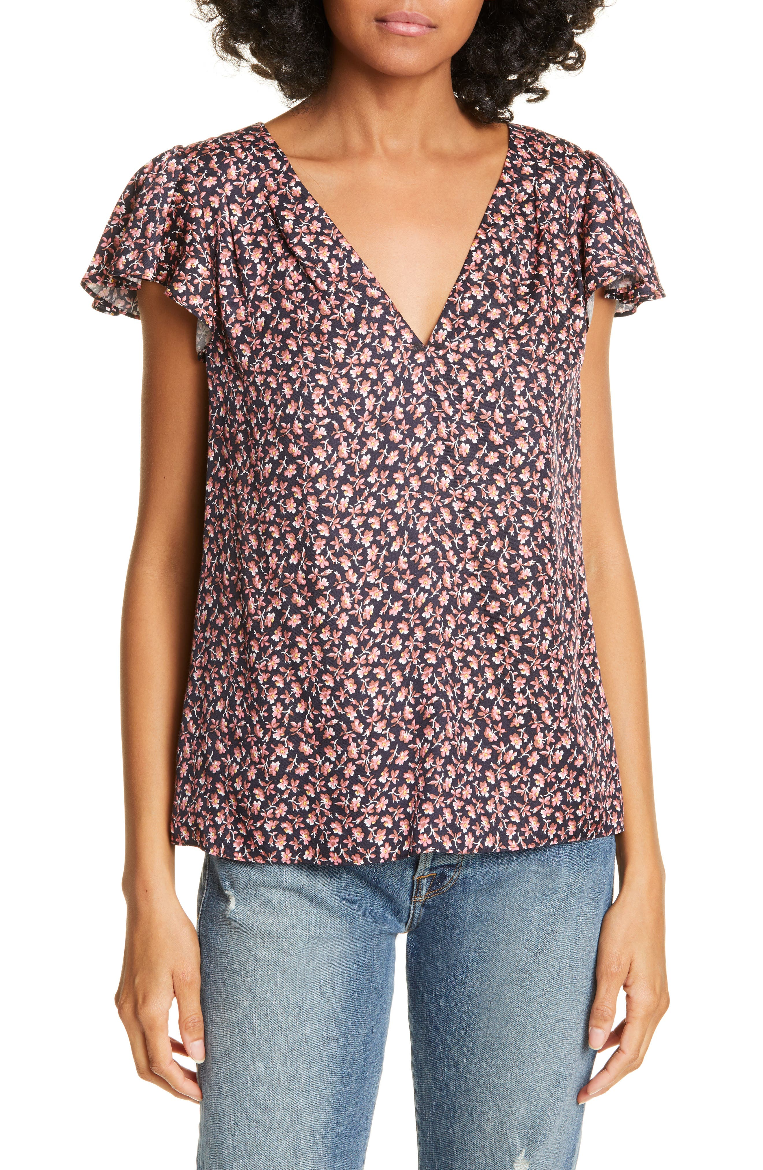 REBECCA TAYLOR, Francesca Floral Silk Blend Blouse, Main thumbnail 1, color, NAVY COMBO