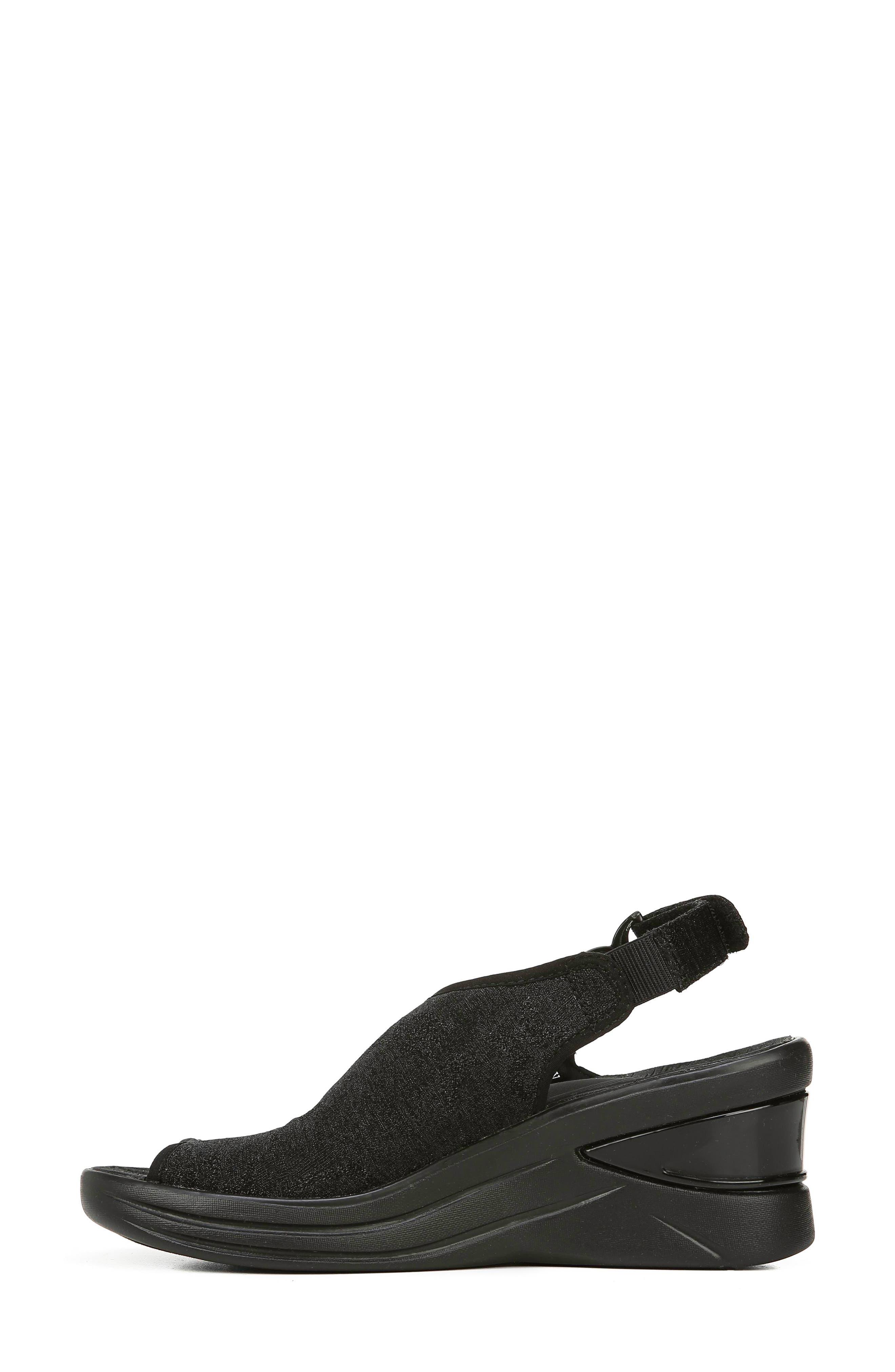 BZEES, Vivia Slingback Wedge Sandal, Alternate thumbnail 9, color, BLACK FABRIC
