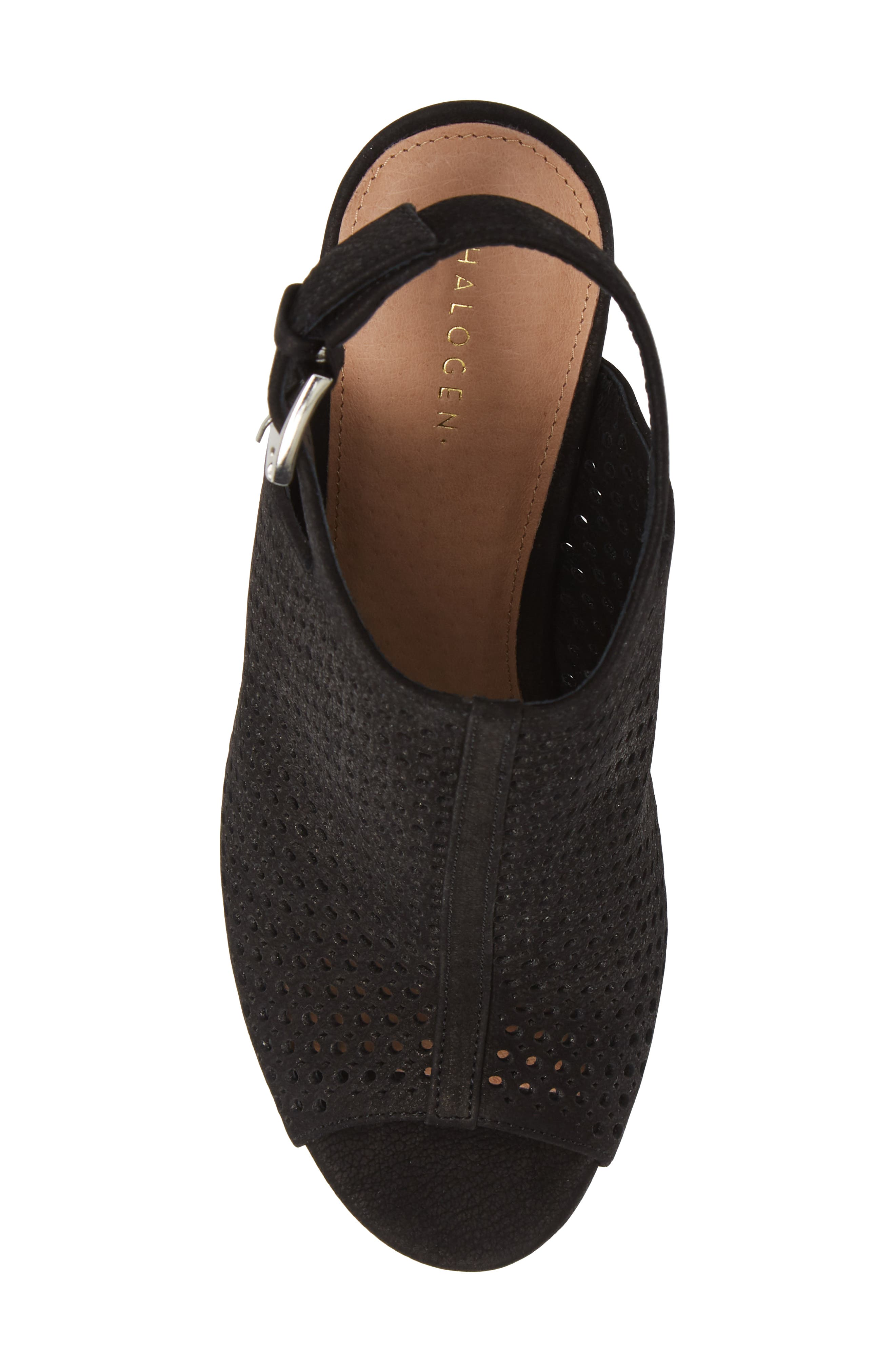 HALOGEN<SUP>®</SUP>, Demi Perforated Shield Sandal, Alternate thumbnail 5, color, BLACK OILED NUBUCK