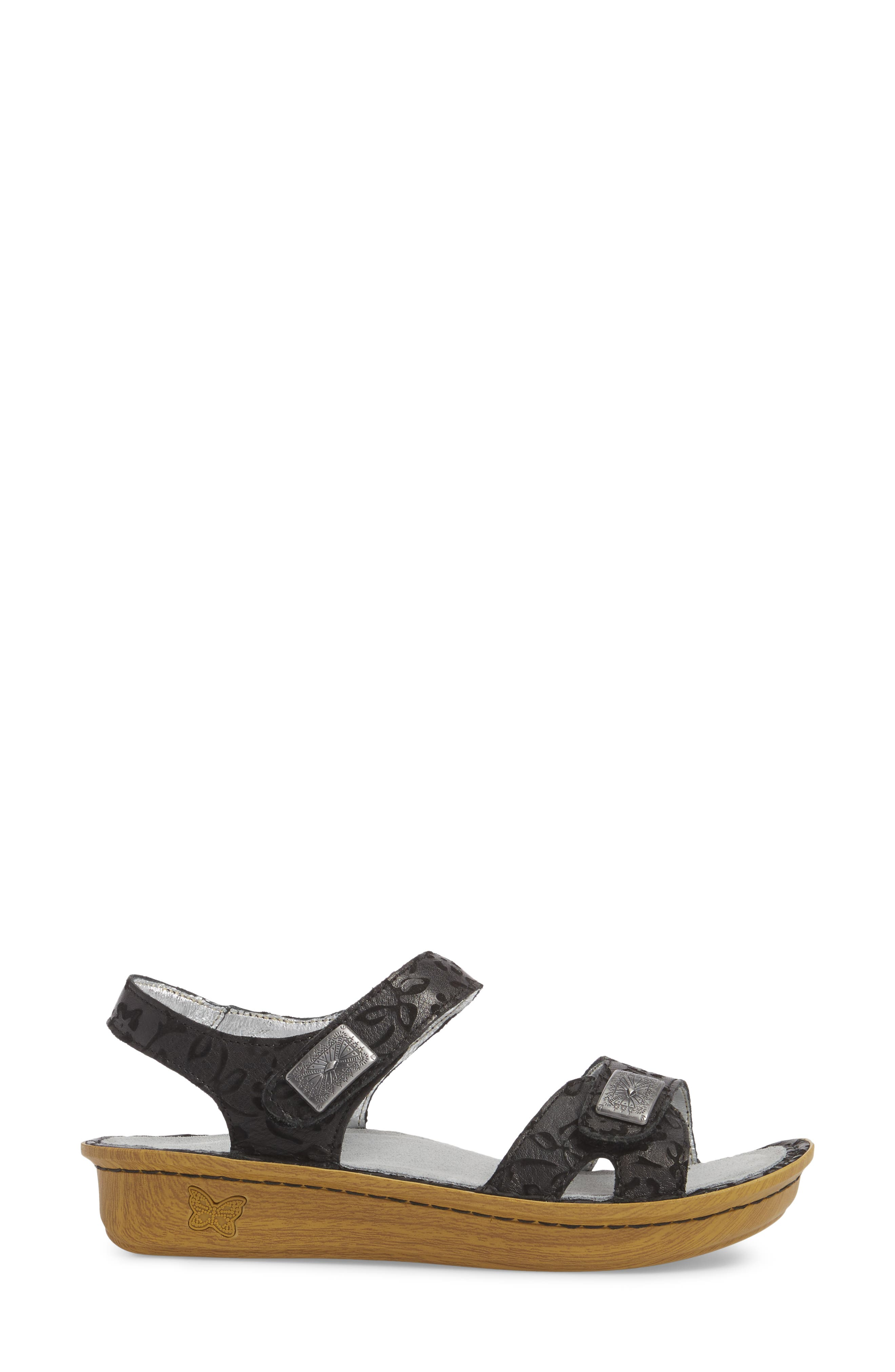 ALEGRIA, Vienna Sandal, Alternate thumbnail 3, color, MORNING GLORY BLACK LEATHER