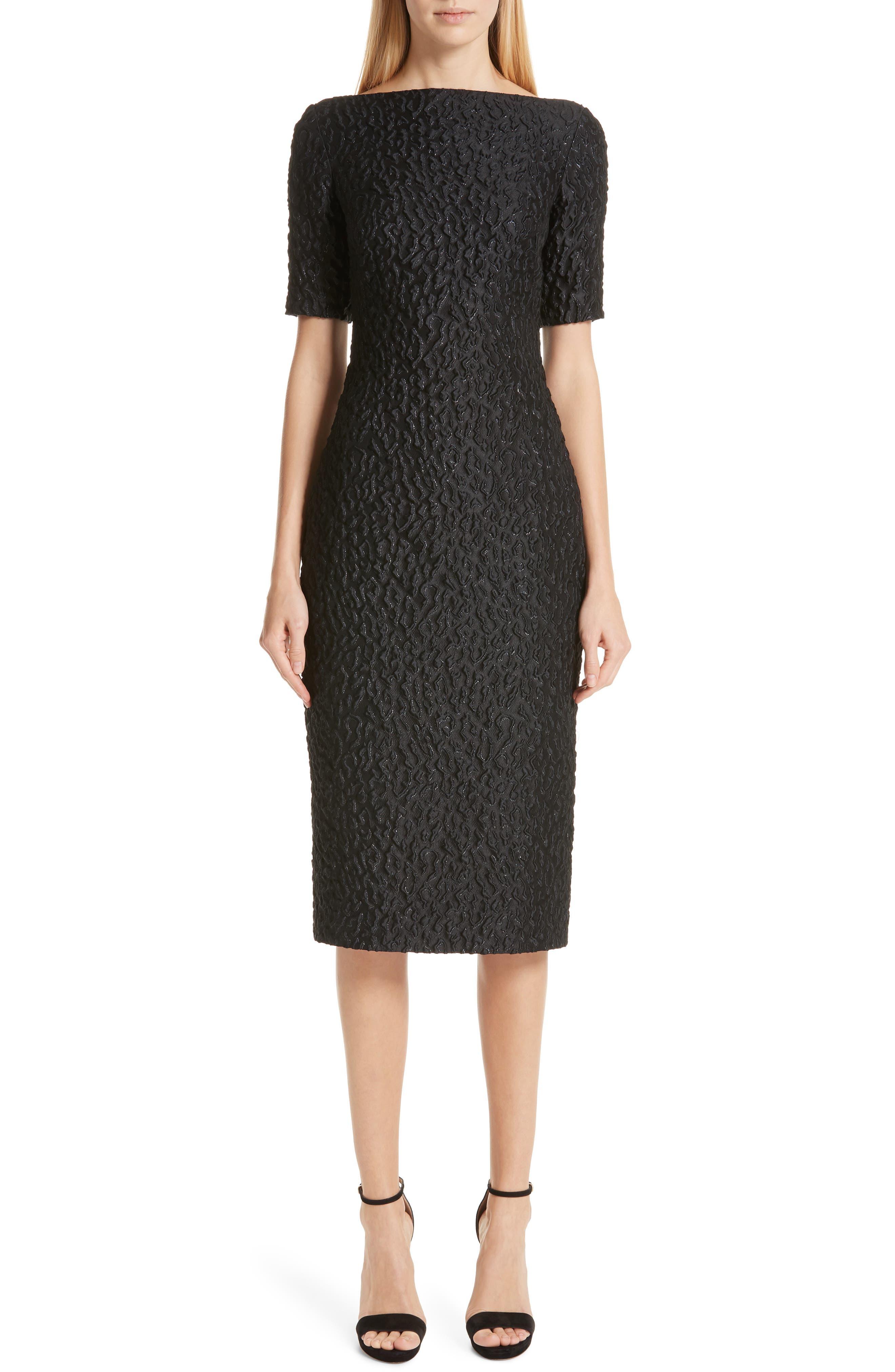 BRANDON MAXWELL, Leopard Jacquard Sheath Dress, Main thumbnail 1, color, BLACK