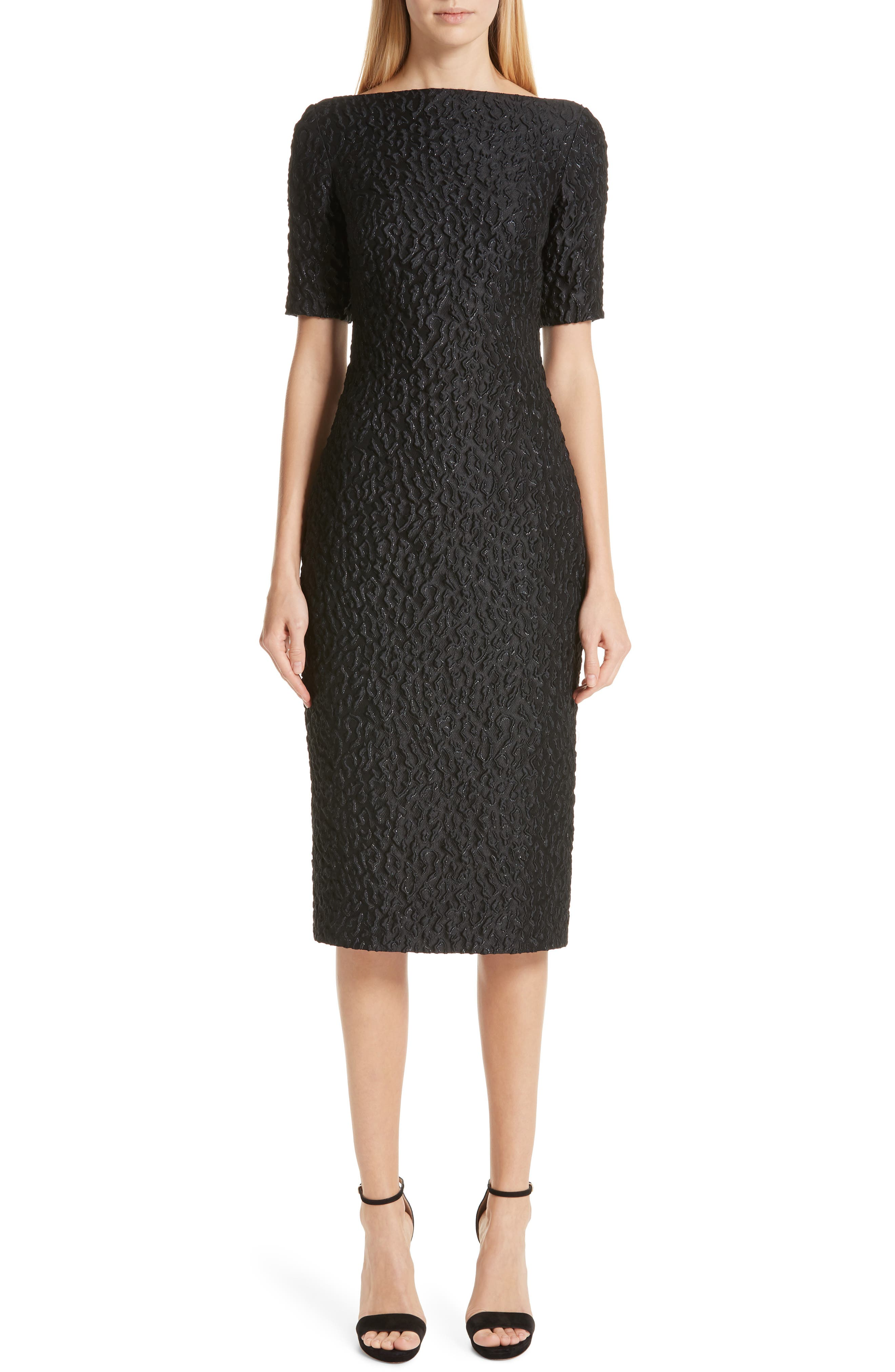 BRANDON MAXWELL Leopard Jacquard Sheath Dress, Main, color, BLACK
