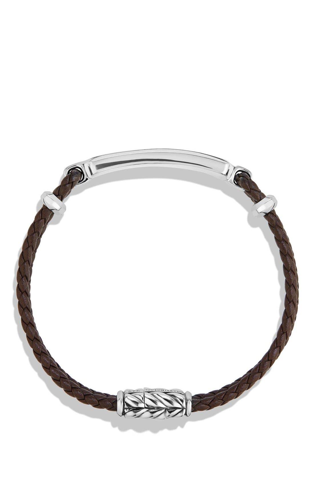 DAVID YURMAN, Bar Station Leather Bracelet, Alternate thumbnail 2, color, SILVER/ TIGERS EYE