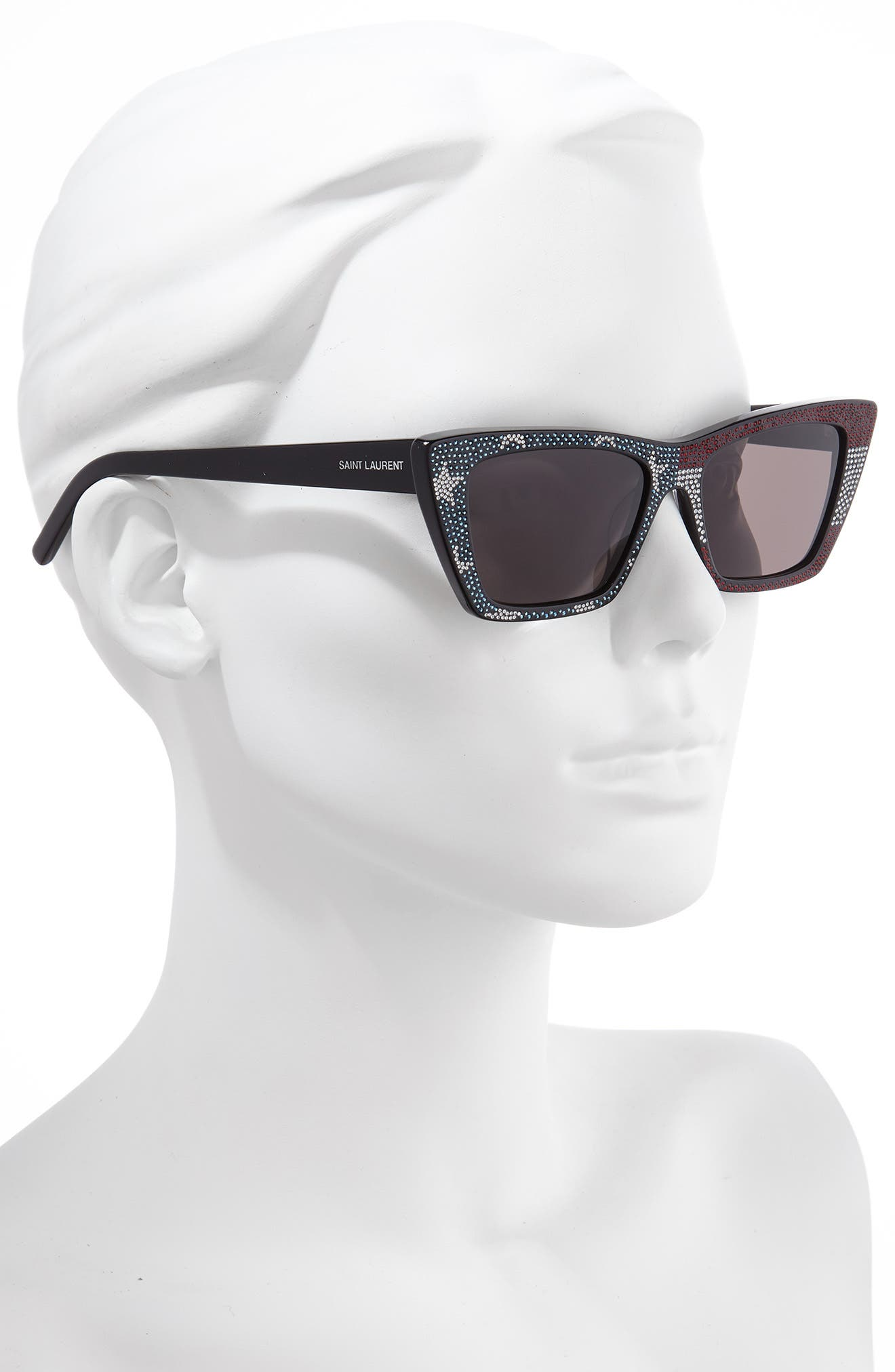 SAINT LAURENT, 53mm Cat Eye Sunglasses, Alternate thumbnail 2, color, BLACK/ CRYSTAL RED BLUE/ GREY